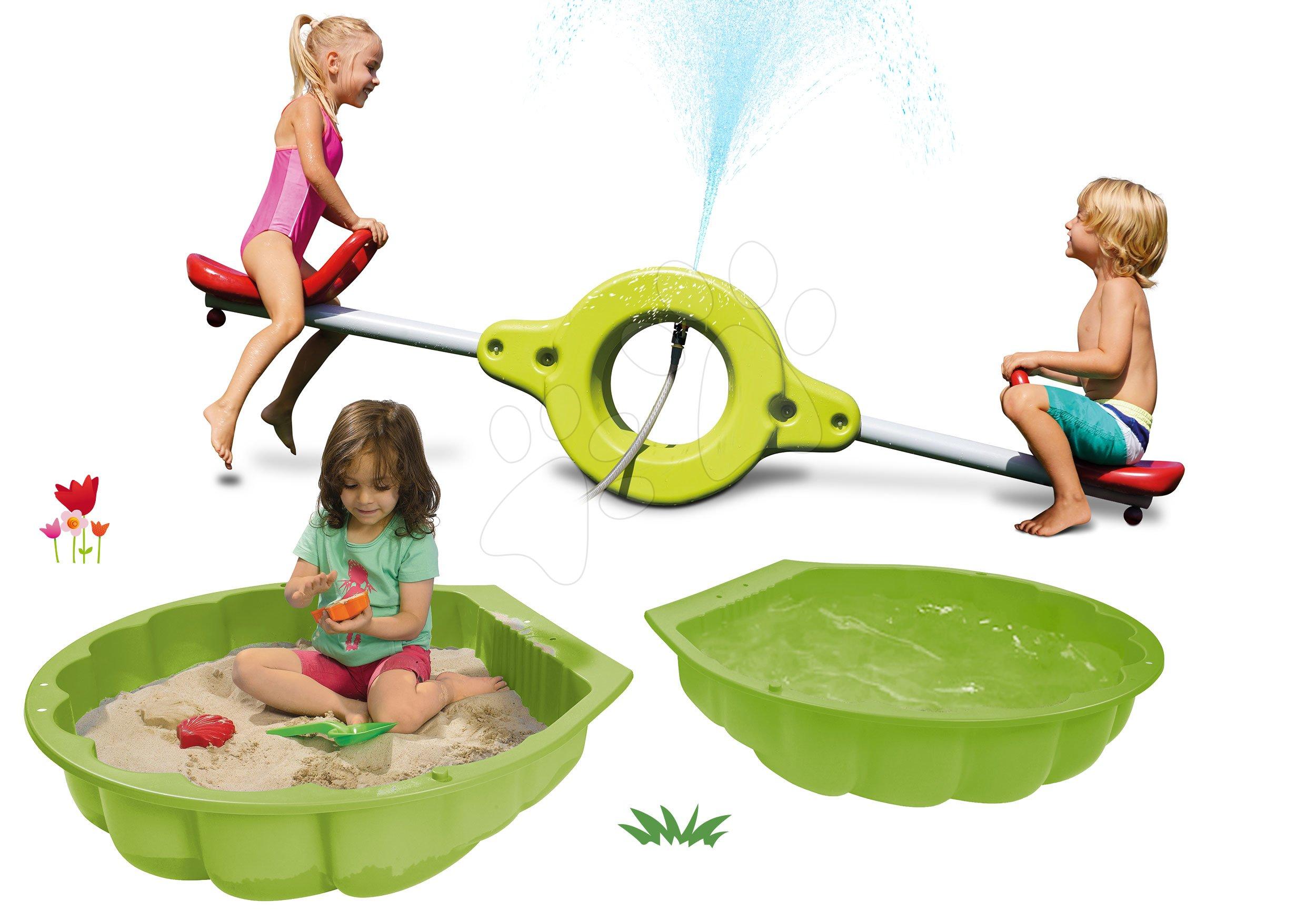 Set pieskovisko mušľa dvojdielne Watershell Green BIG zelené a obojstranná hojdačka 360° stupňová s vodotryskom