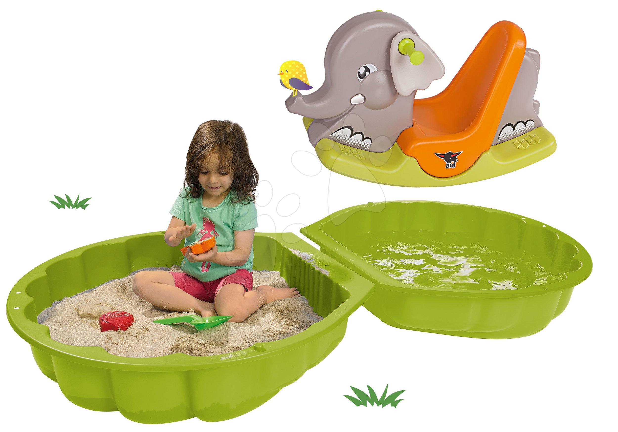 Set pieskovisko mušľa dvojdielne Watershell Green BIG zelené a hojdačka slon