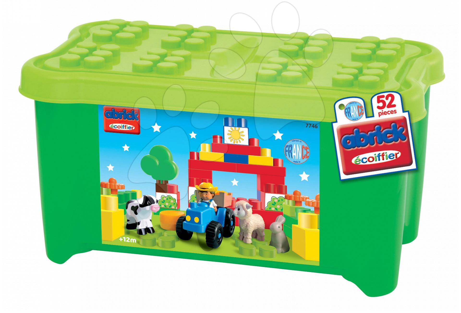Kostky a stavebnice - Stavebnice v dóze Abrick Maxi Zvířátka na farmě Écoiffier 52 dílů od 12 měsíců