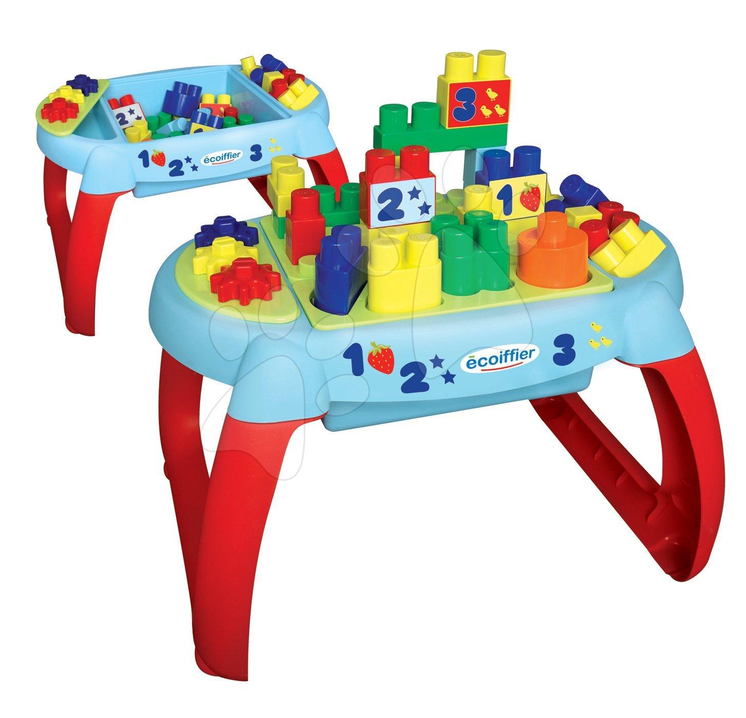 Stavebnica pre bábätká Les Maxi Écoiffier stolík 32 kociek rôznych tvarov od 12 mes