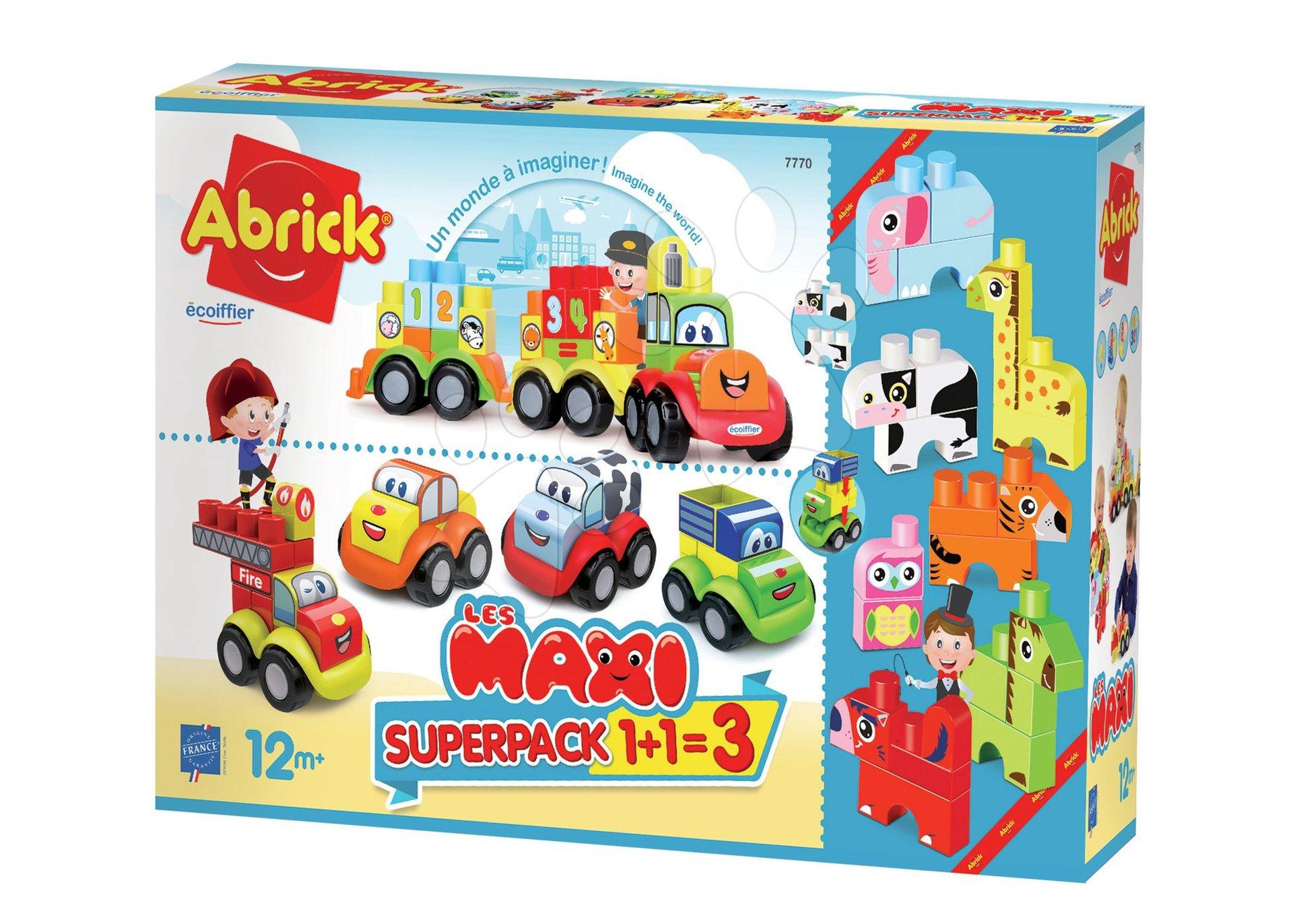 Stavebnica Maxi Abrick Superpack 3v1 zvieratká, autá a vláčik Écoiffier veľké kocky s IML potlačou od 12 mes