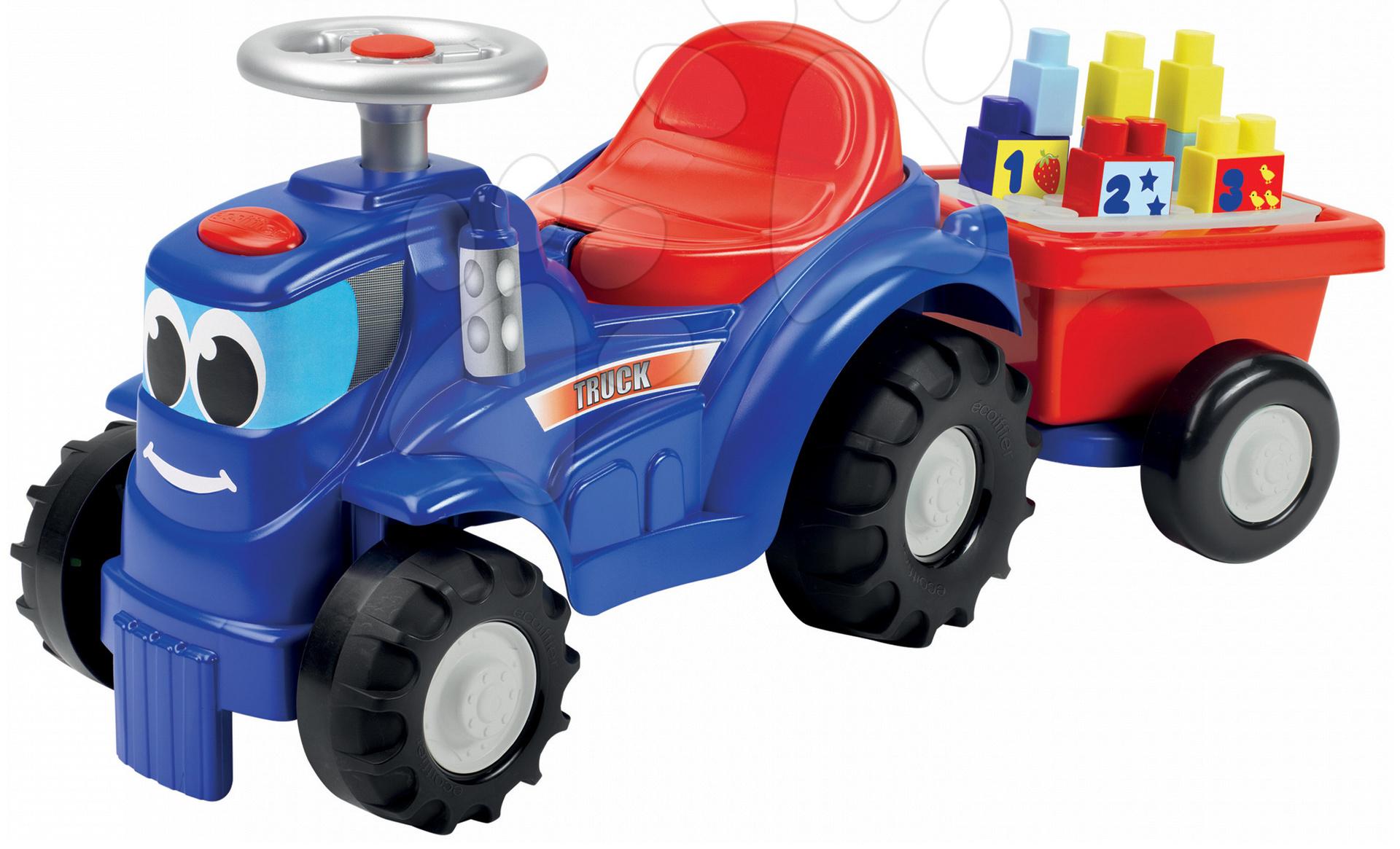 Odrážedlo traktor s přívěsem Maxi Abrick Écoiffier s 11 kostkami modrý od 12 měsíců
