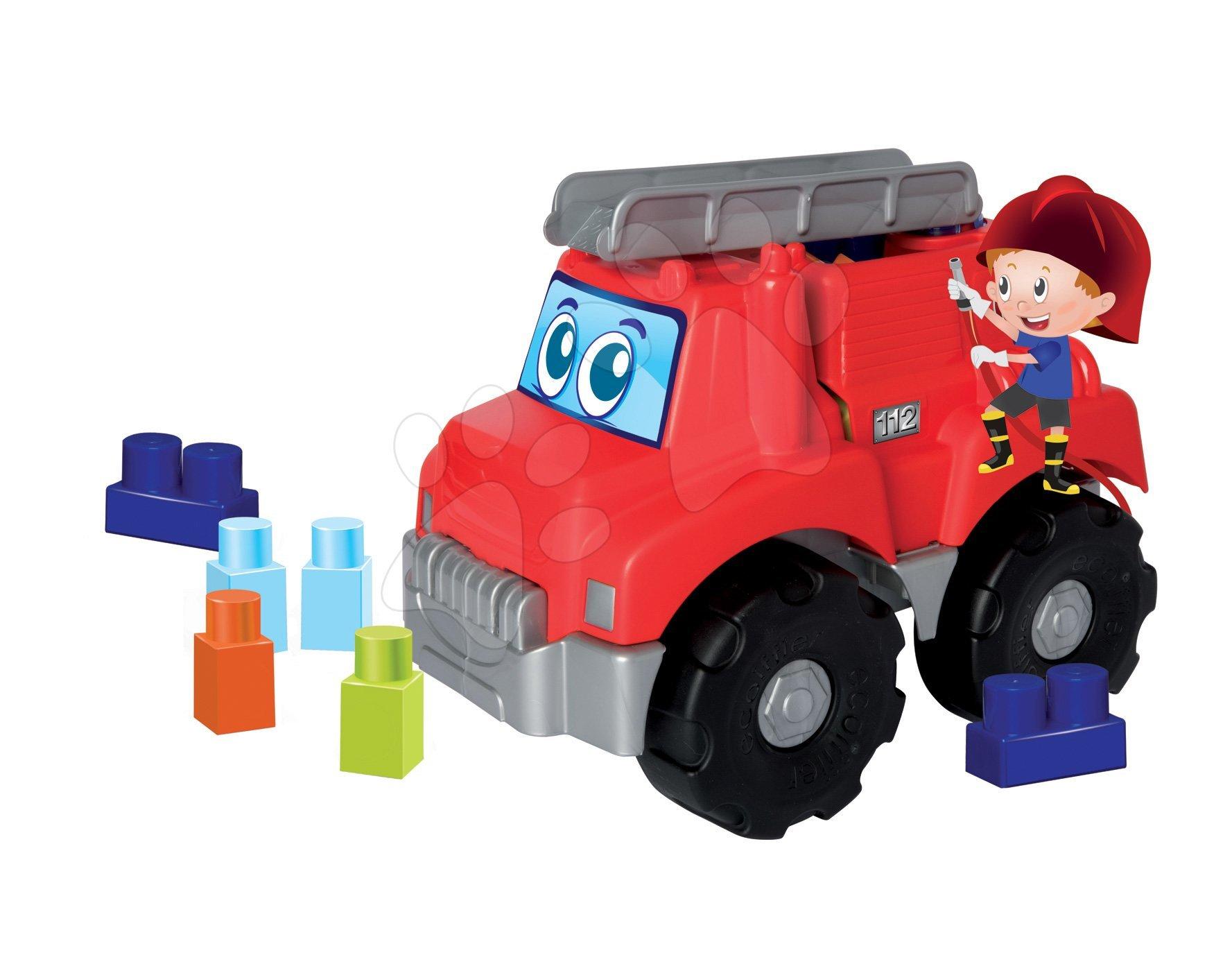 Stavebnica pre bábätká Les Maxi Écoiffier požiarne auto s 15 kockami od 12 mes