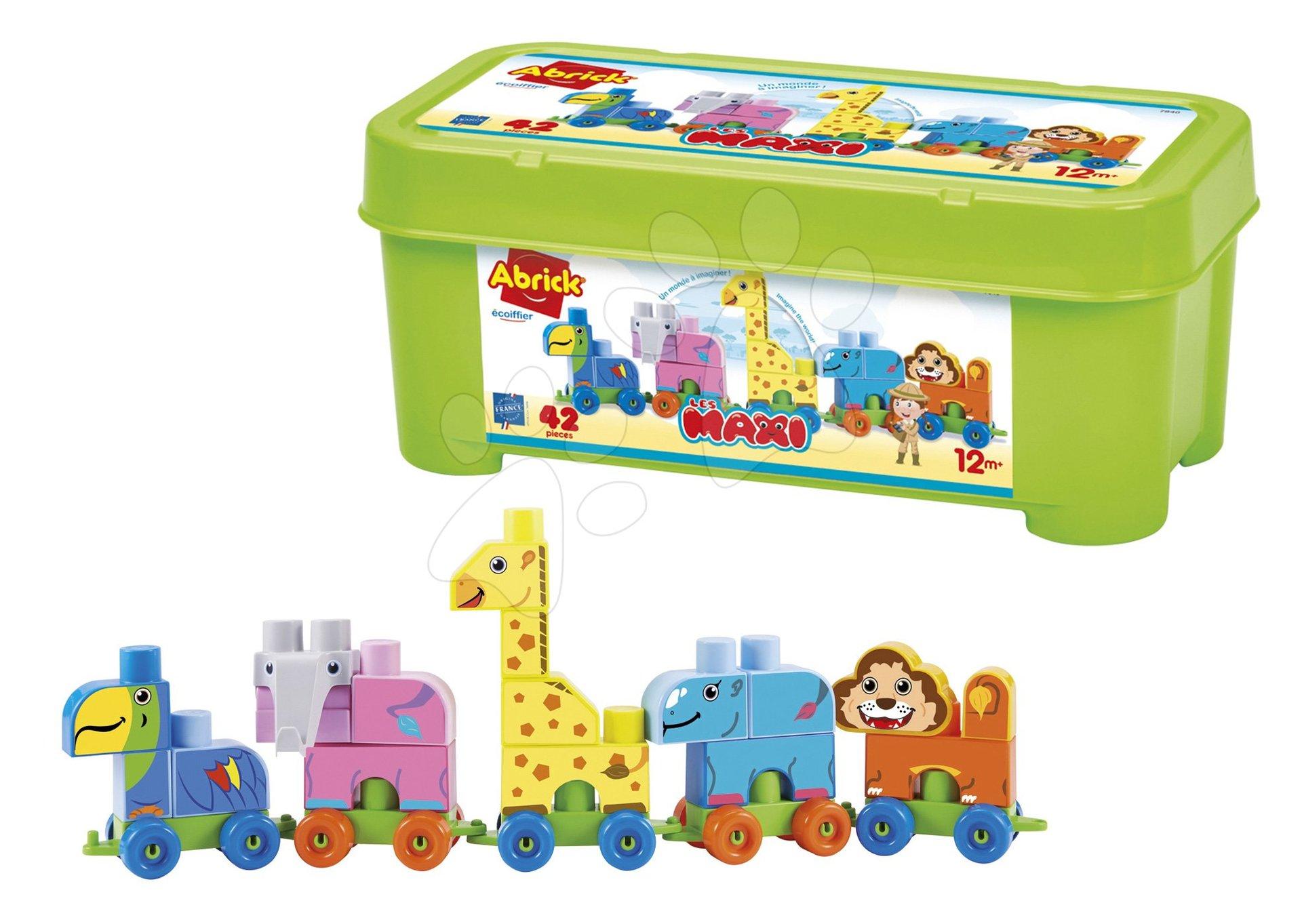 Stavebnice v dóze Les Maxi Abrick Écoiffier Zvířátka vlak na kolečkách od 12 měsíců