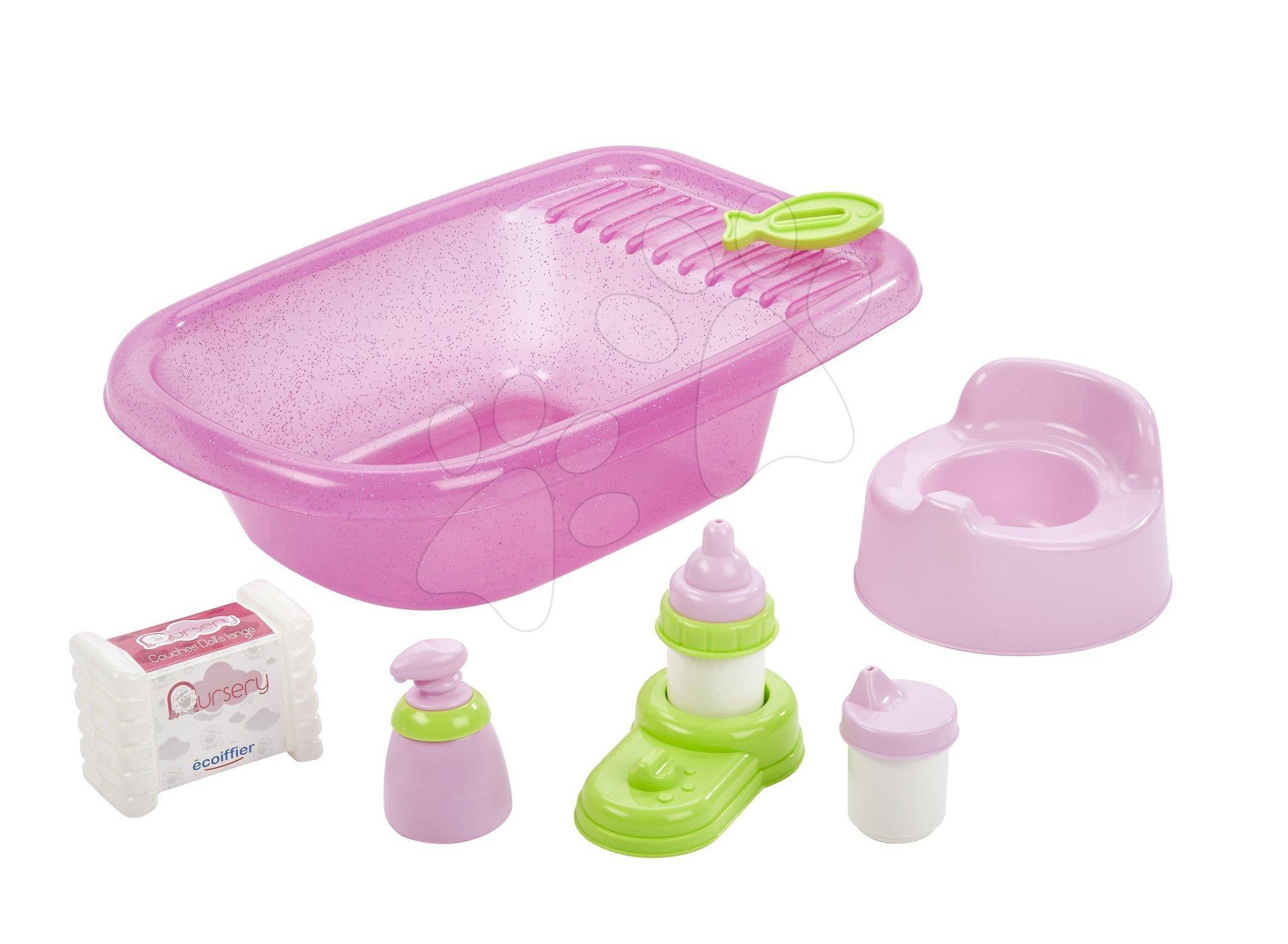 Doplnky pre bábiky - Vanička pre bábiku Nursery Écoiffier s doplnkami ružová od 18 mes