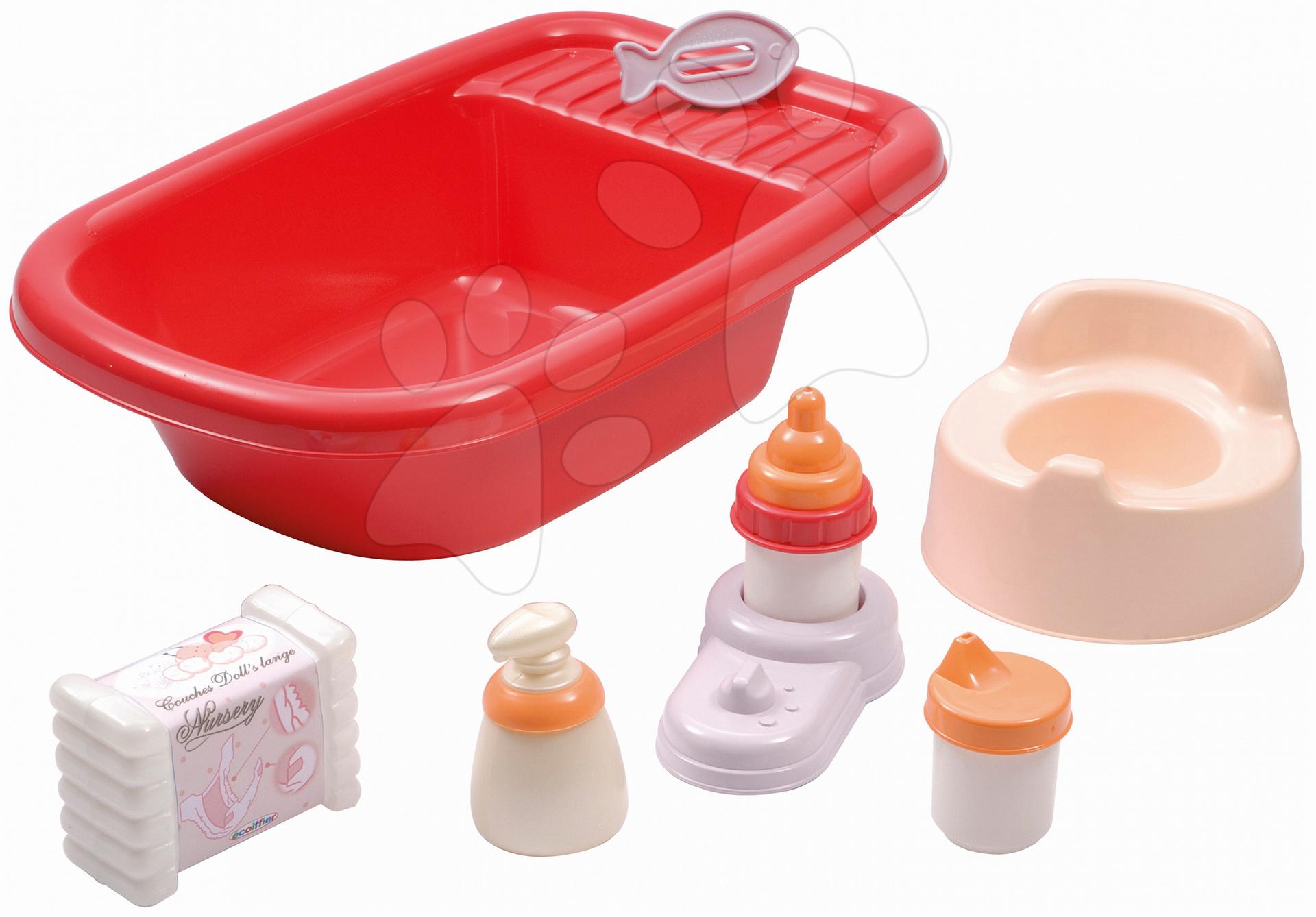 Vanička pre bábiku Nursery Écoiffier s 8 doplnkami červená od 18 mes