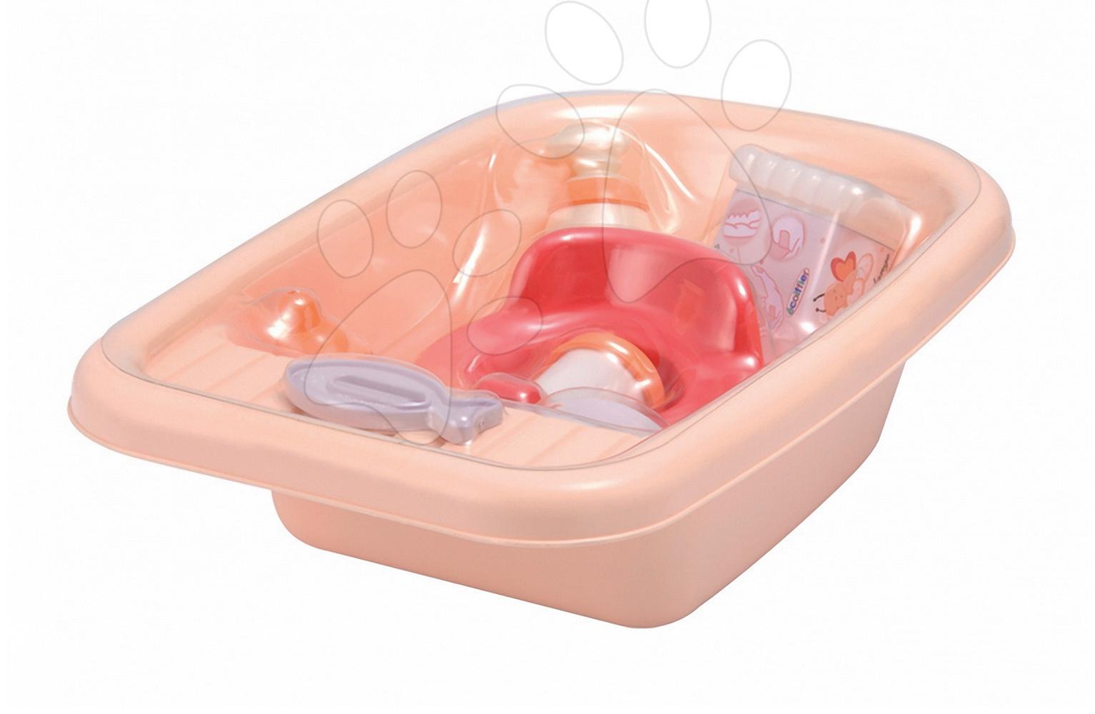 Doplnky pre bábiky - Vanička na kúpanie bábiky Nursery Écoiffier s 8 doplnkami oranžová od 18 mes