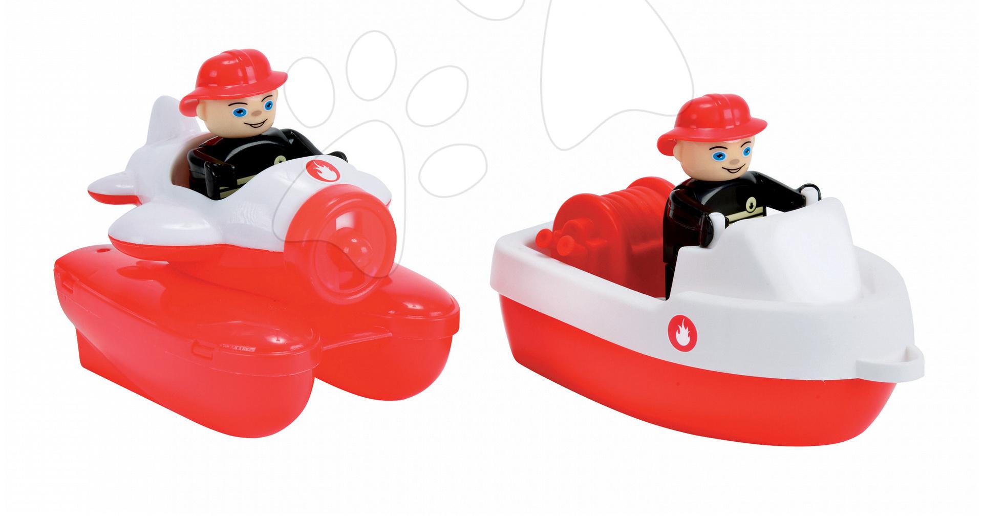 Príslušenstvo k vodným dráham - Súprava 2 lodiek Waterplay BIG hasičské dĺžka 15,5 cm červené