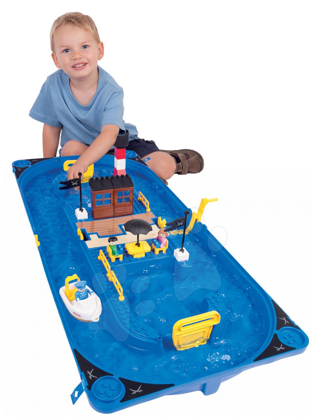 Vodne dráhy pre deti - Vodná hra Waterplay Sansibar BIG v kufríku s 3 figúrkami - 37 dielov