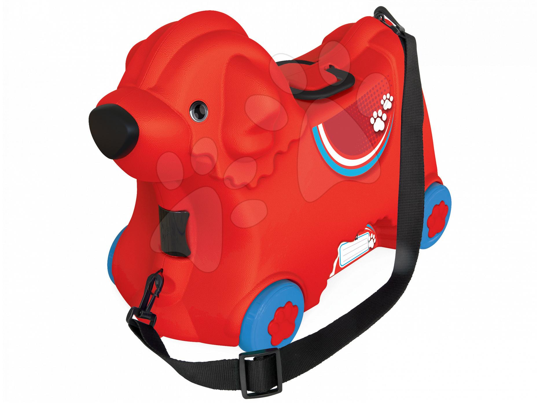 Odrážedlo kufr na kolečkách Pes Bobby BIG s tajnou přihrádkou 15 L objem červené