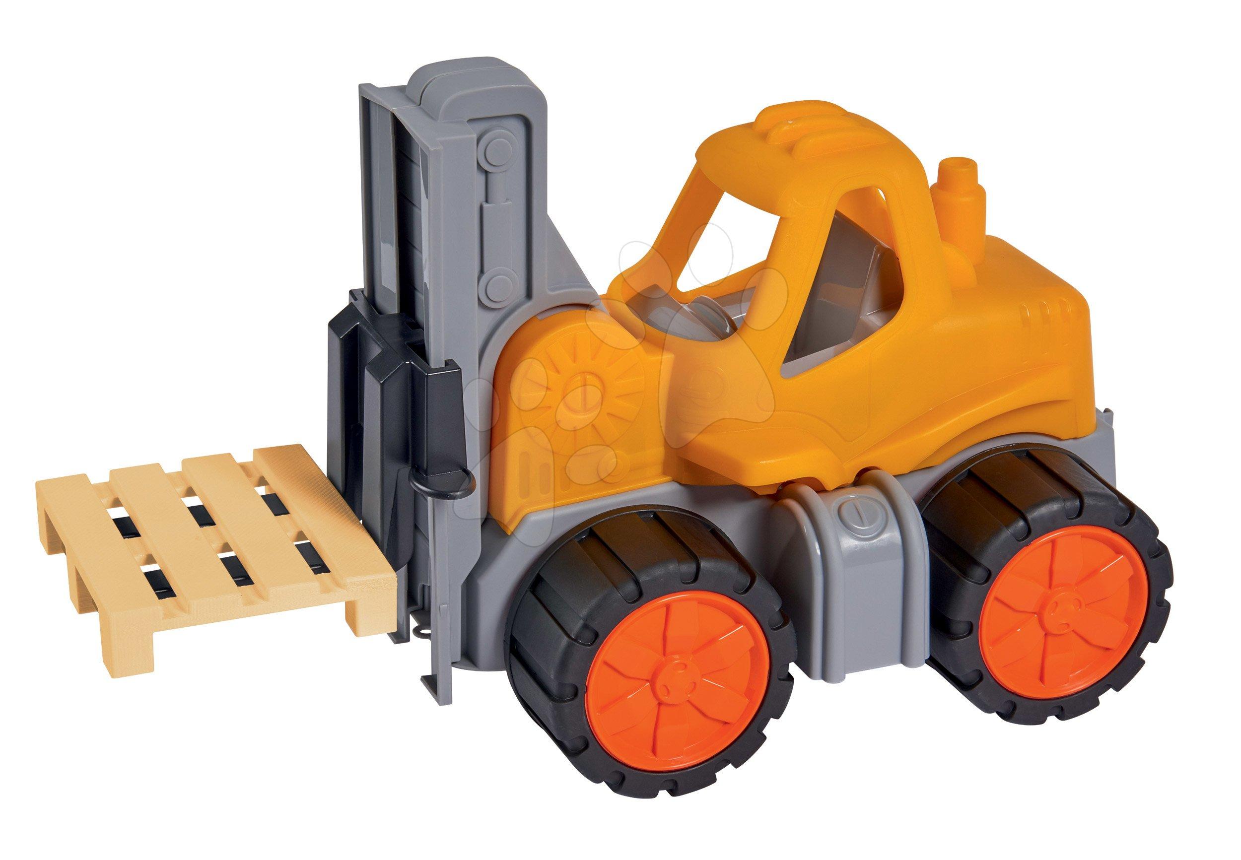 Homokozó autók - Targonca Forklift Power Worker BIG munkagép funkciókkal 42 cm - gumikerekekkel 2 éves kortól