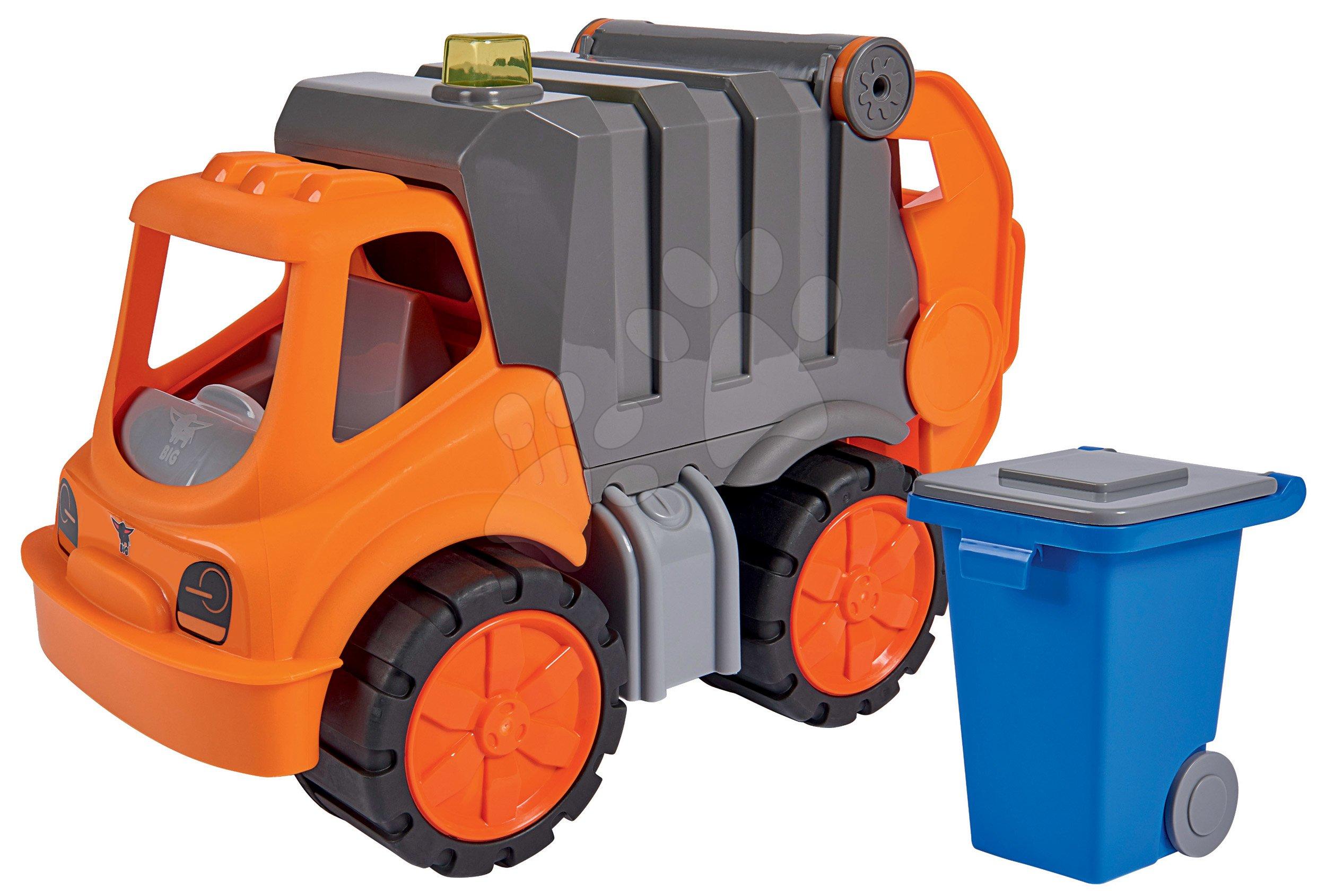 Teherautók - Kukásautó Power Worker BIG szemétgyűjtővel és mozgatható részekkel - gumikerekekkel 2 éves kortól