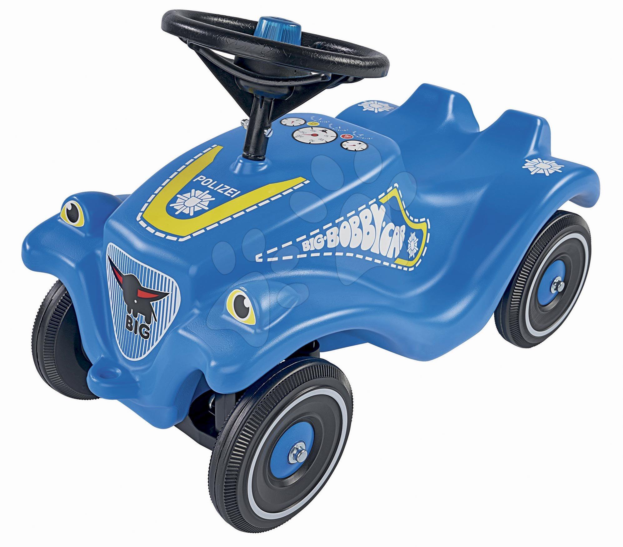 Odrážadlo auto Bobby Car Classic Police BIG modré so zvukom a svetlom a s nálepkami v rôznych jazykoch od 12 mes