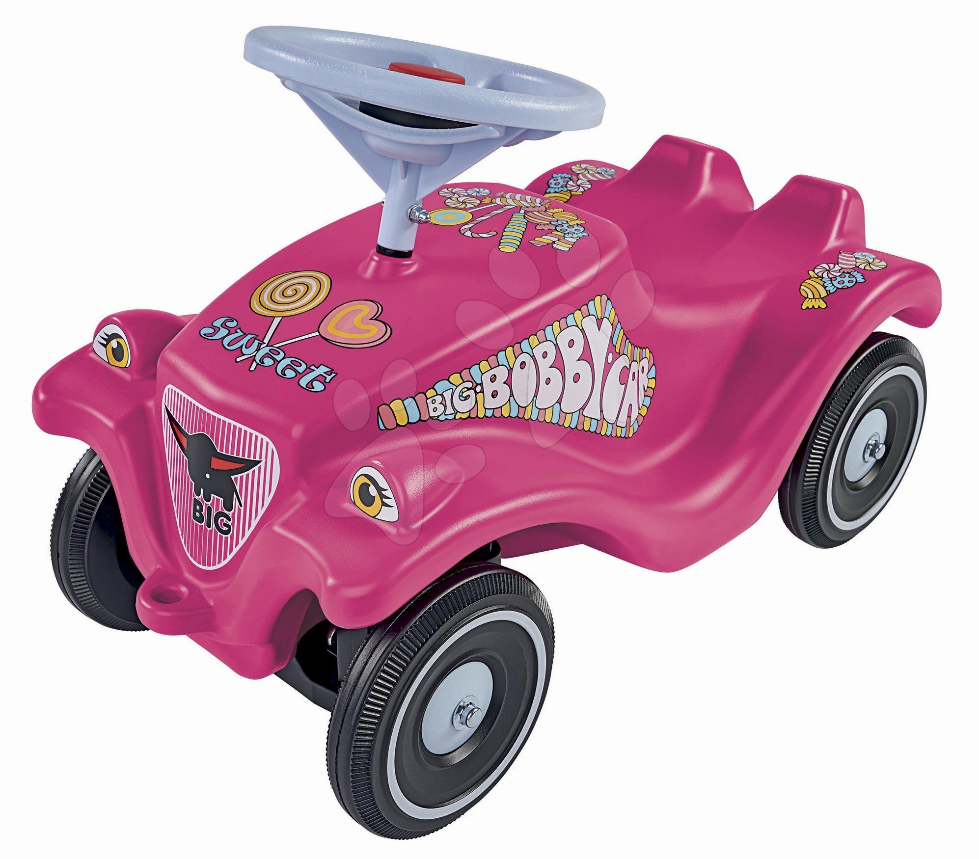 Odrážadlo auto Bobby Car Classic Candy BIG ružové so zvukom a nálepkami cukríky od 12 mes