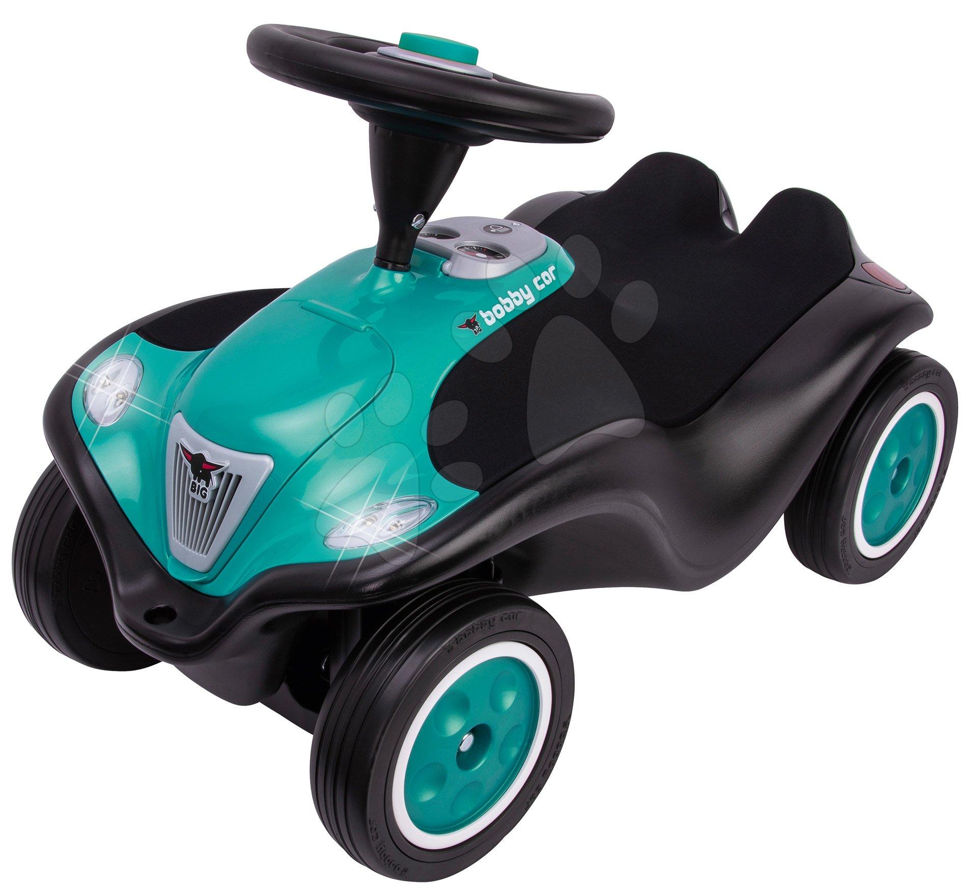 Babytaxiu Bobby Car Next Turquoise BIG faruri LED, claxon electronic, scaun ergonomic cu velur de la 12 luni