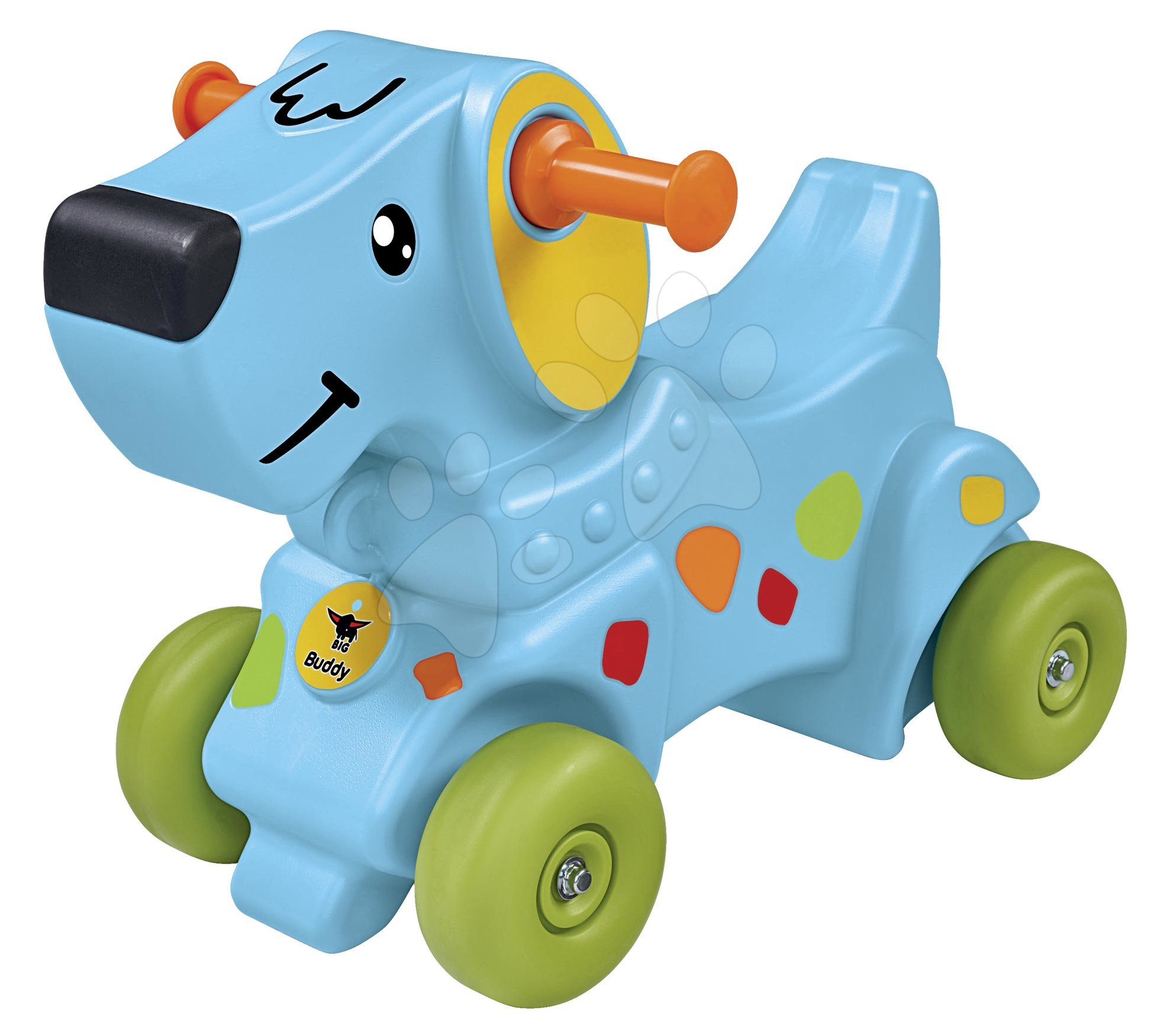 Odrážadlo pes na 4 kolieskach Buddy BIG s veľmi pohodlným ergonomickým sedadlom a opierkou od 12 mes