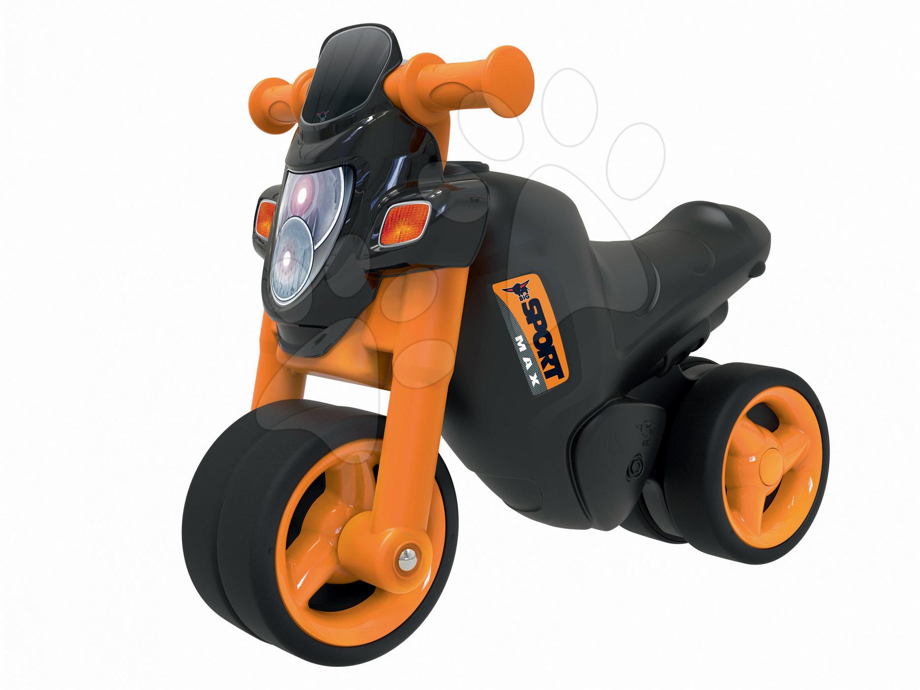 Babytaxiu motocicletă Sport Bike BIG cu claxon electronic negru-portocaliu de la 18 luni