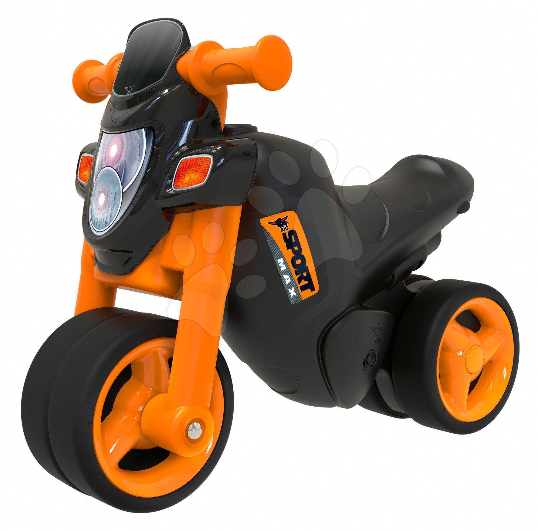 Odrážadlá od 18 mesiacov - Odrážadlo motorka Sport Bike BIG s elektronickým klaksónom čierno-oranžové od 18 mes