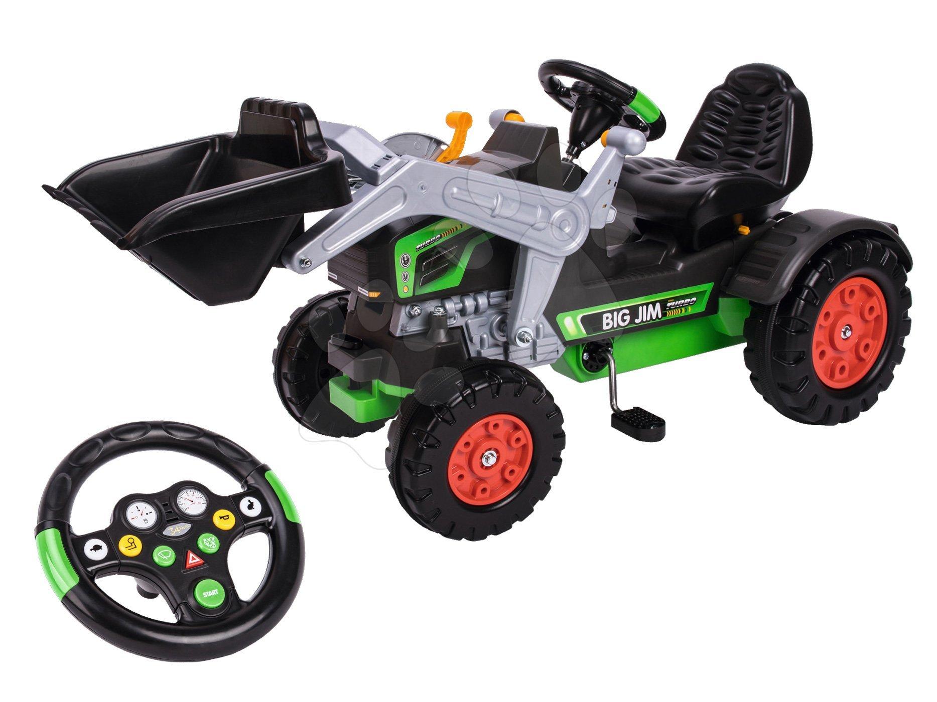 Otroška vozila na pedala - Traktor na pedala bager BIG Jim Turbo z interaktivnim volanom na verižni pogon