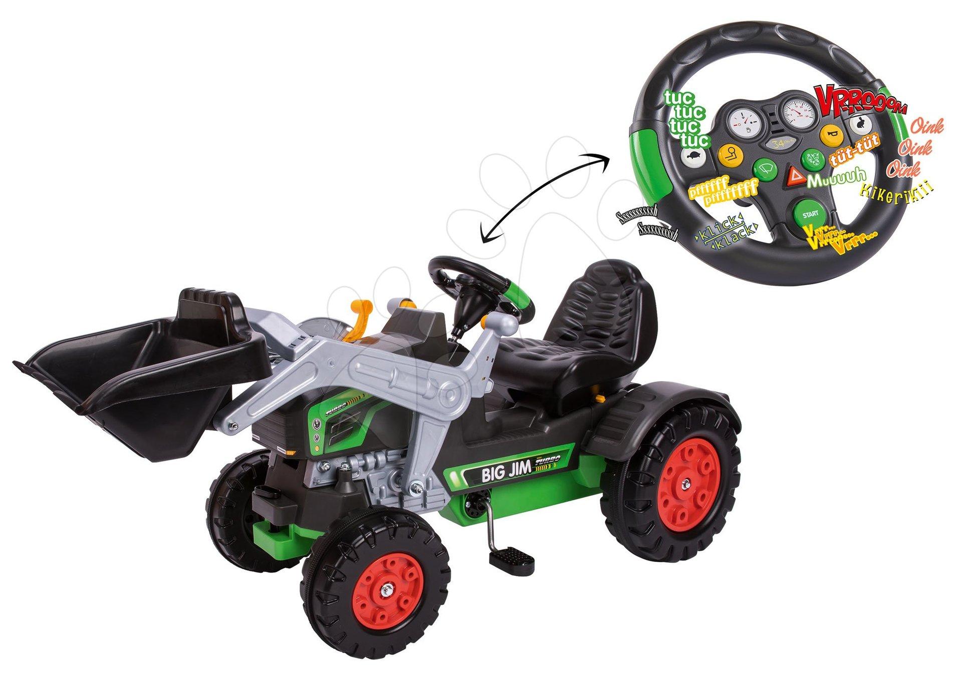 Traktor na pedala bager BIG Jim Turbo z interaktivnim volanom na verižni pogon