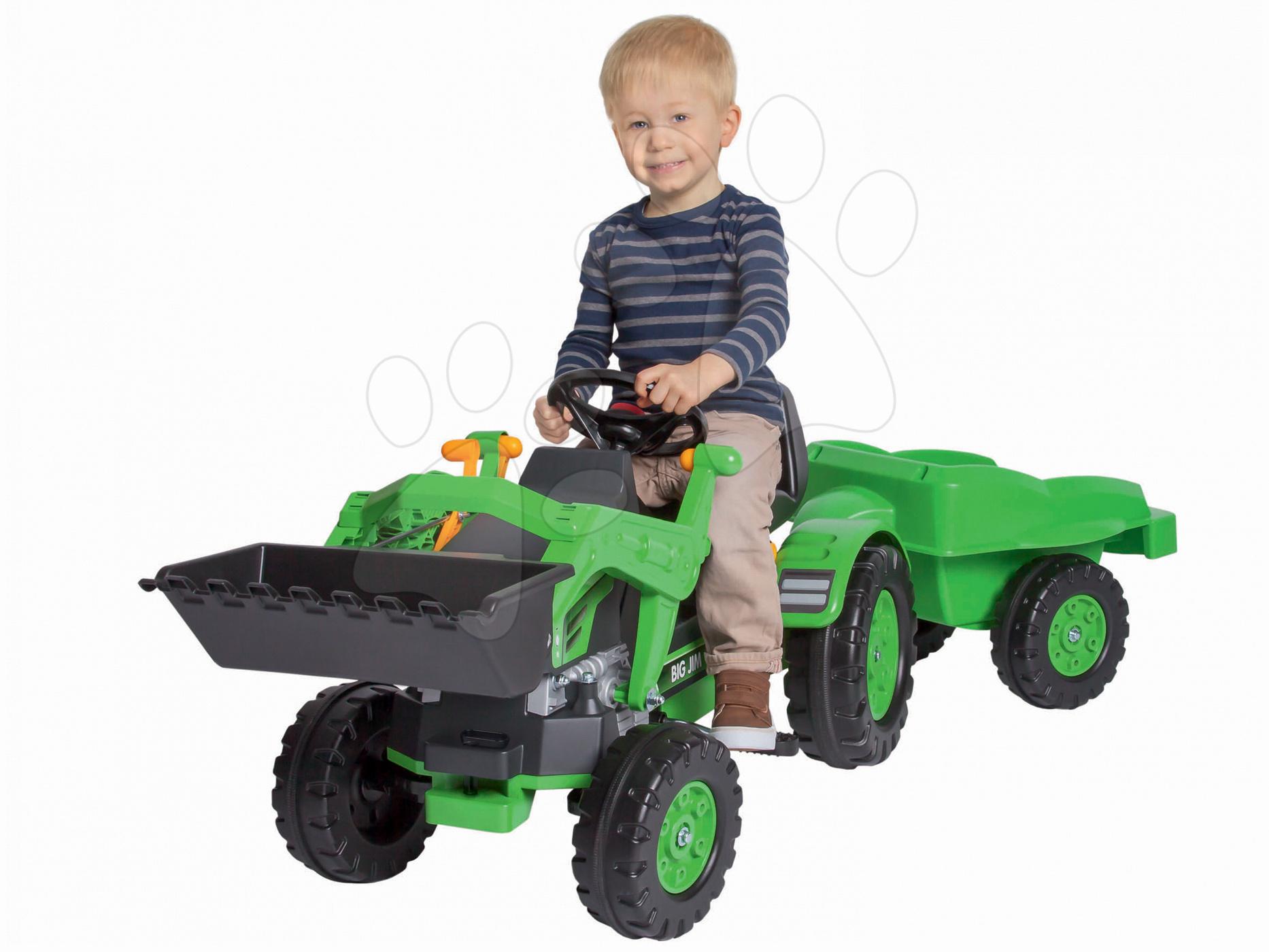 BIG 56516 šlapací traktor Jim Loader s nakladačom prívesom a klaksónom  zelený od 3 rokov