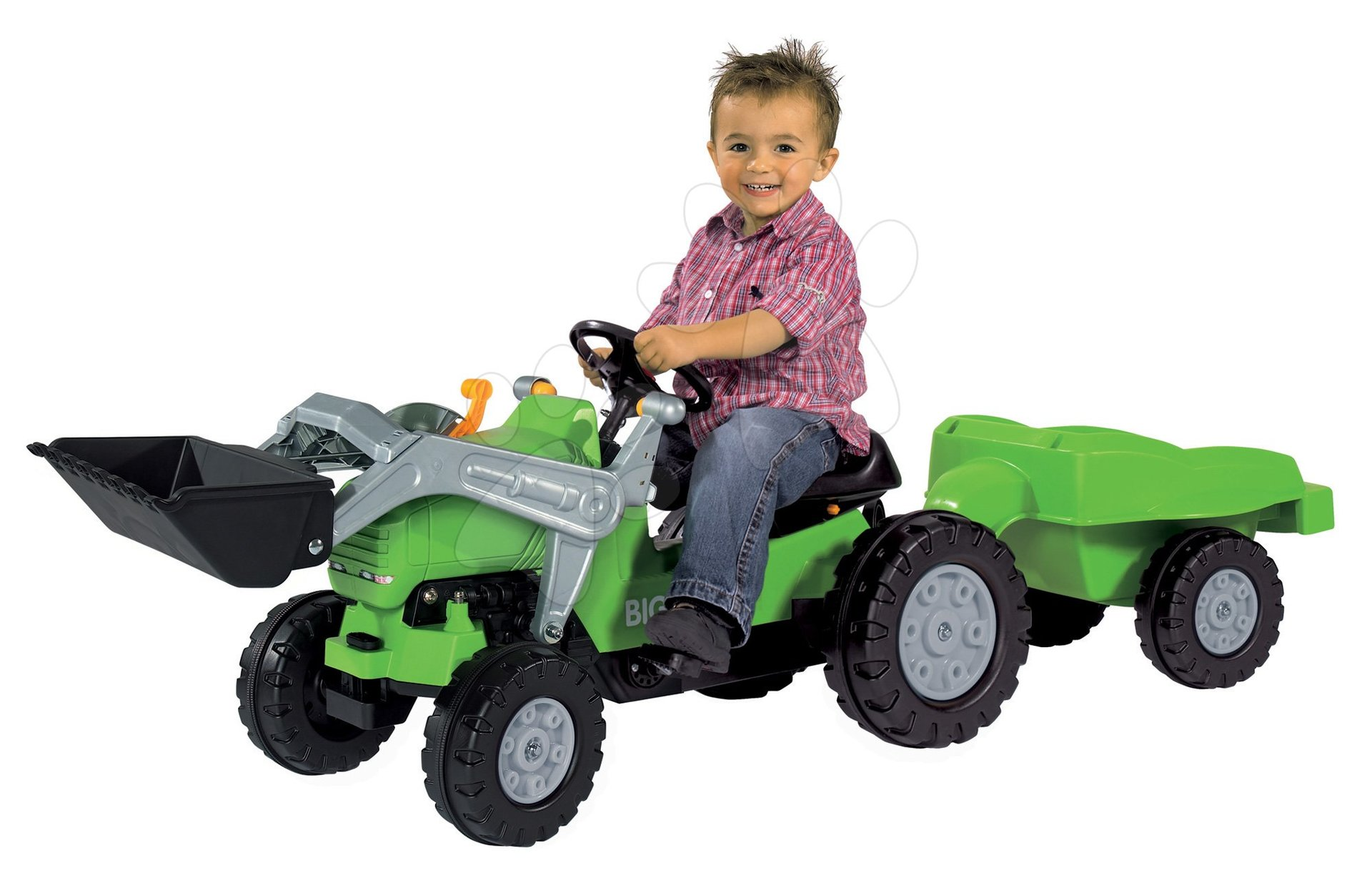 Detské šliapacie vozidlá - Traktor na šliapanie Jimmy BIG s nakladačom a vlečkou zelený