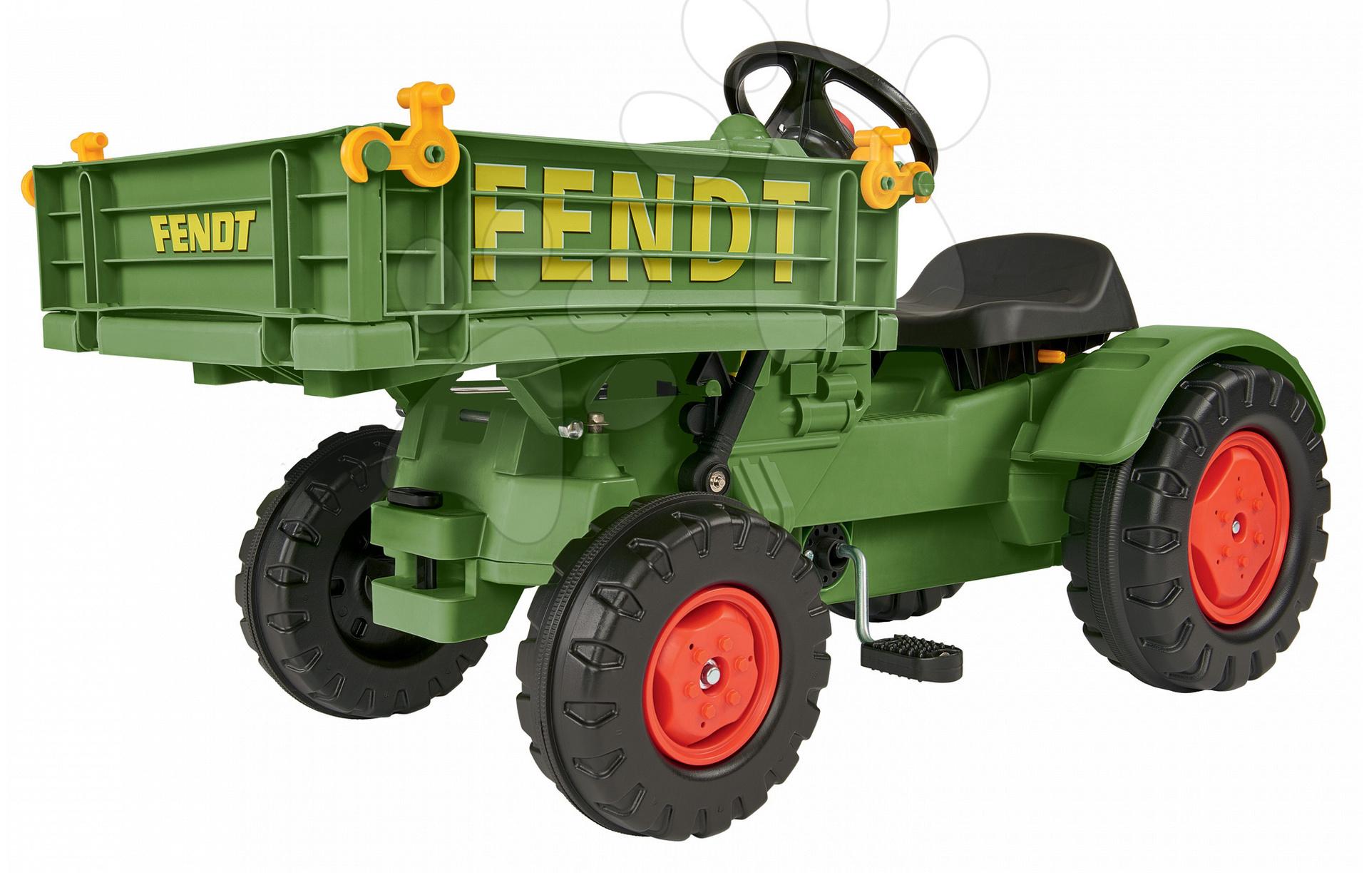 Detské šliapacie vozidlá - Traktor na šliapanie Fendt BIG s vyklápačkou a klaksónom zelený