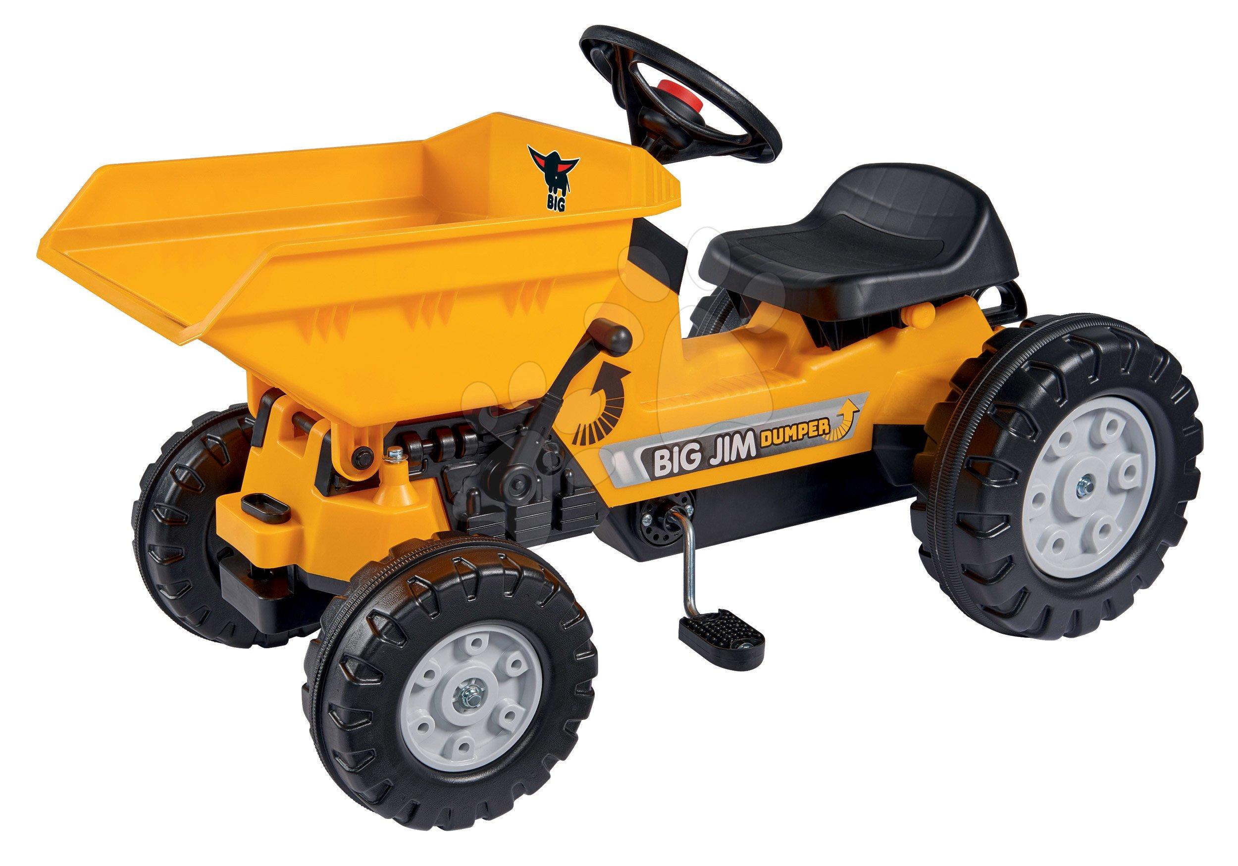 Otroška vozila na pedala - Traktor s sprednjim zabojem Jim Dumper BIG s premičnimi deli, na verižni pogon