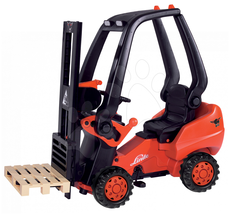 Detské šliapacie vozidlá - Vysokozdvižný vozík na šliapanie Linde BIG s paletou červeno-čierny