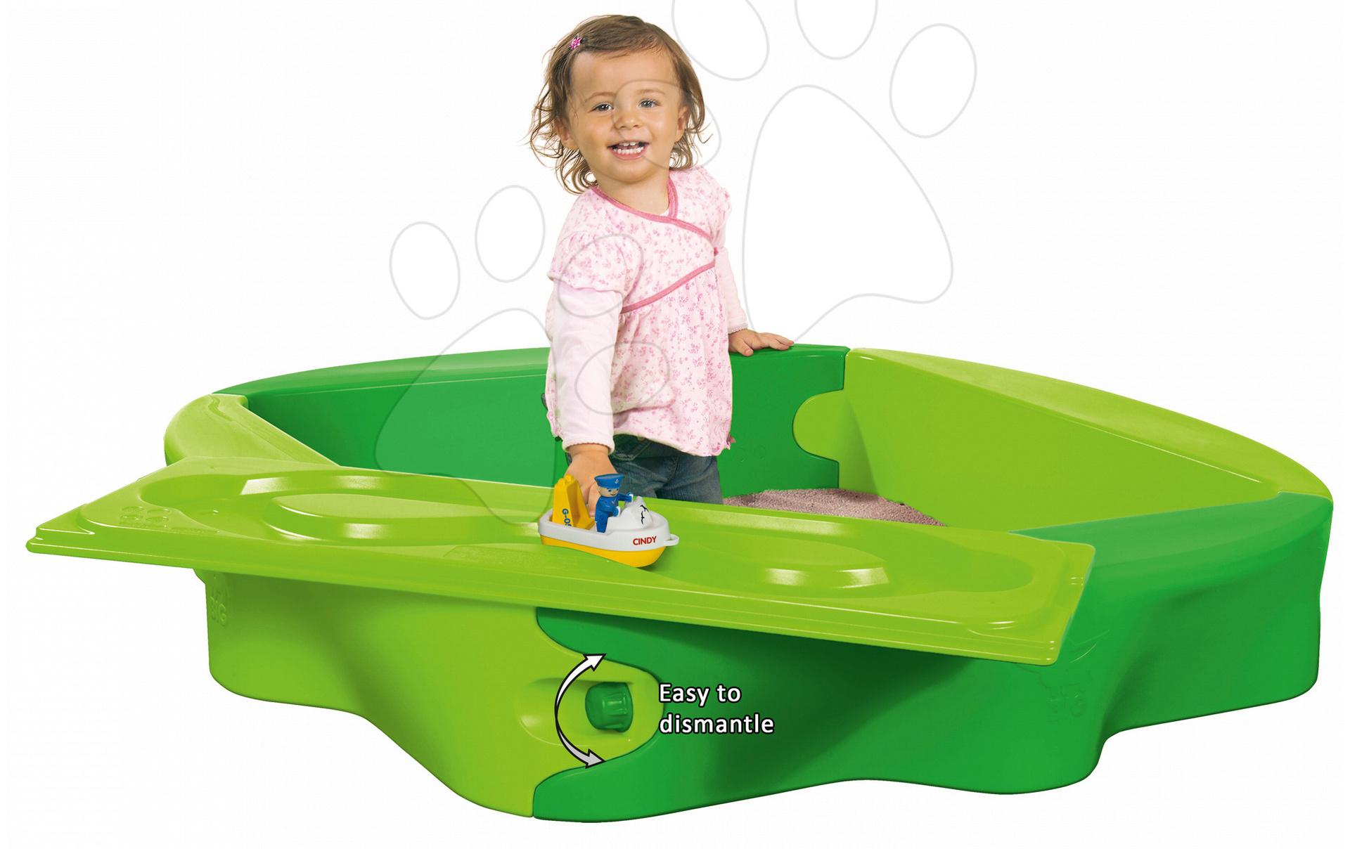 Pieskoviská pre deti - Pieskovisko s vodnou dráhou Sandy BIG s krytom objem 239 litrov 138*138 cm zelené od 12 mes