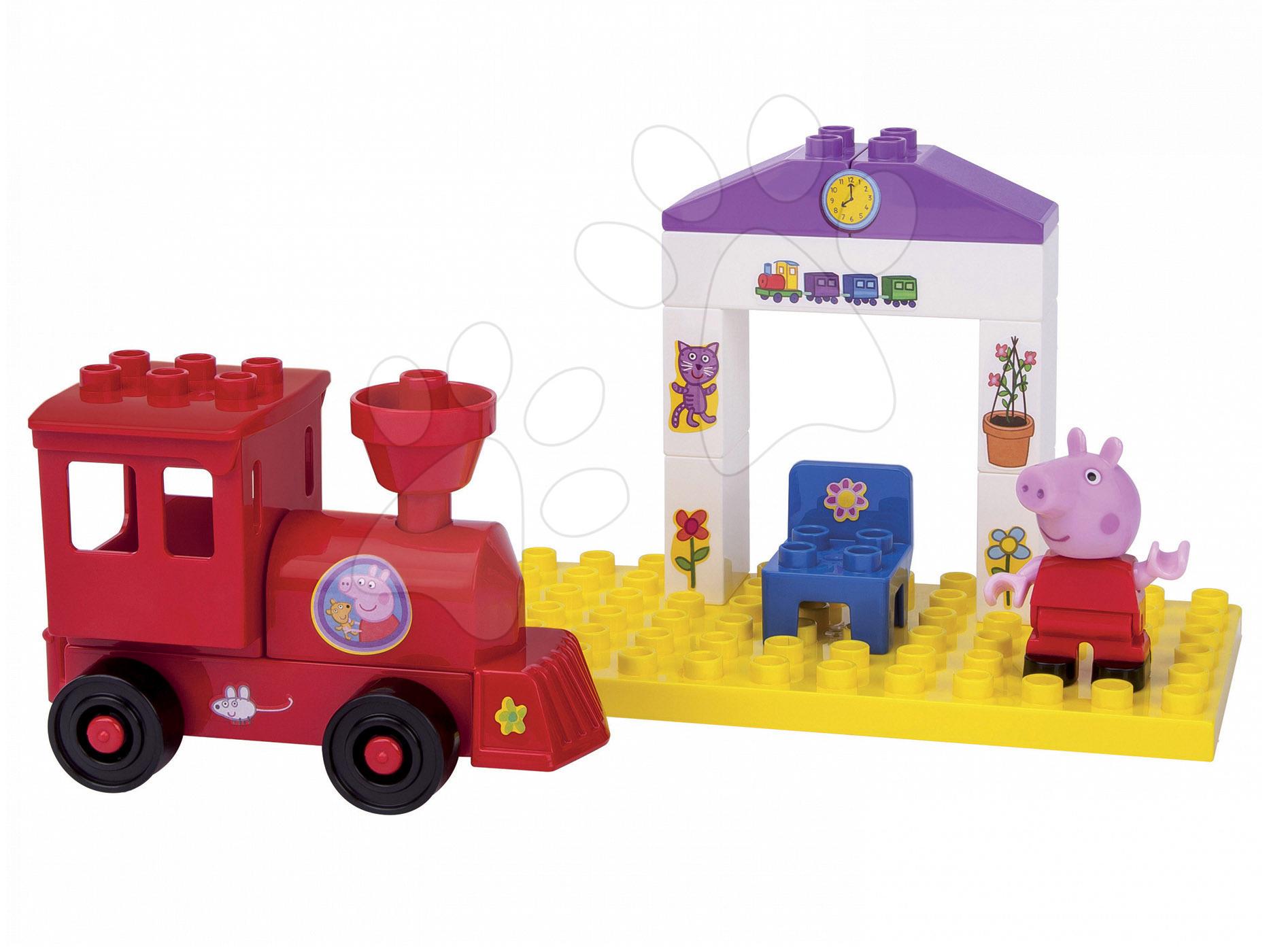 Stavebnice BIG-Bloxx ako lego - Stavebnica Peppa Pig na nástupišti PlayBIG Bloxx BIG s 1 figúrkou 15 dielov od 1,5-5 rokov