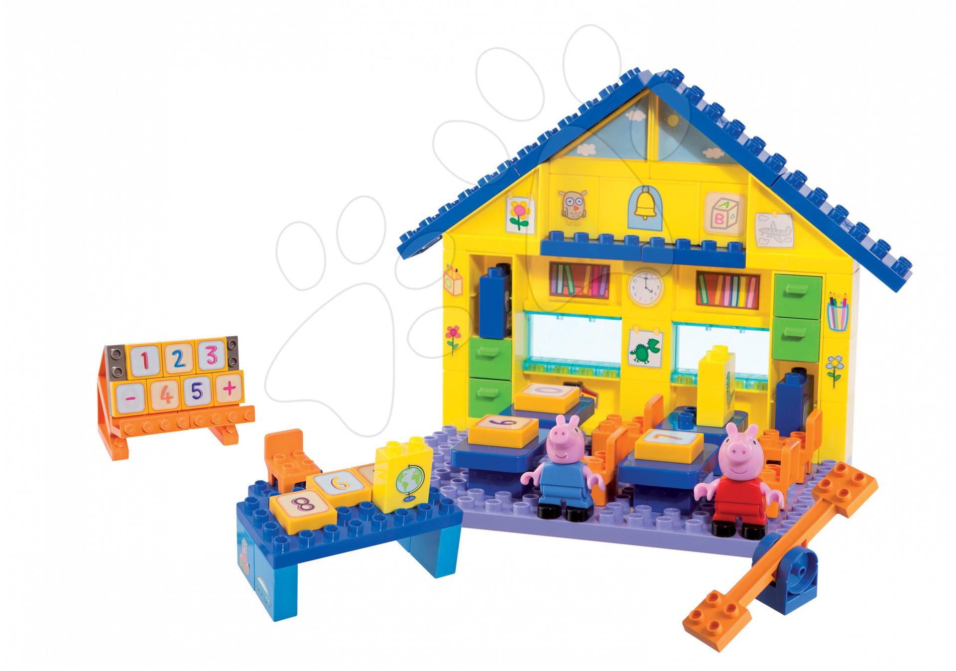 Joc de construit Peppa Pig la şcoală cu tabla înmulţirii PlayBIG Bloxx BIG cu 2 figurine 87 de piese