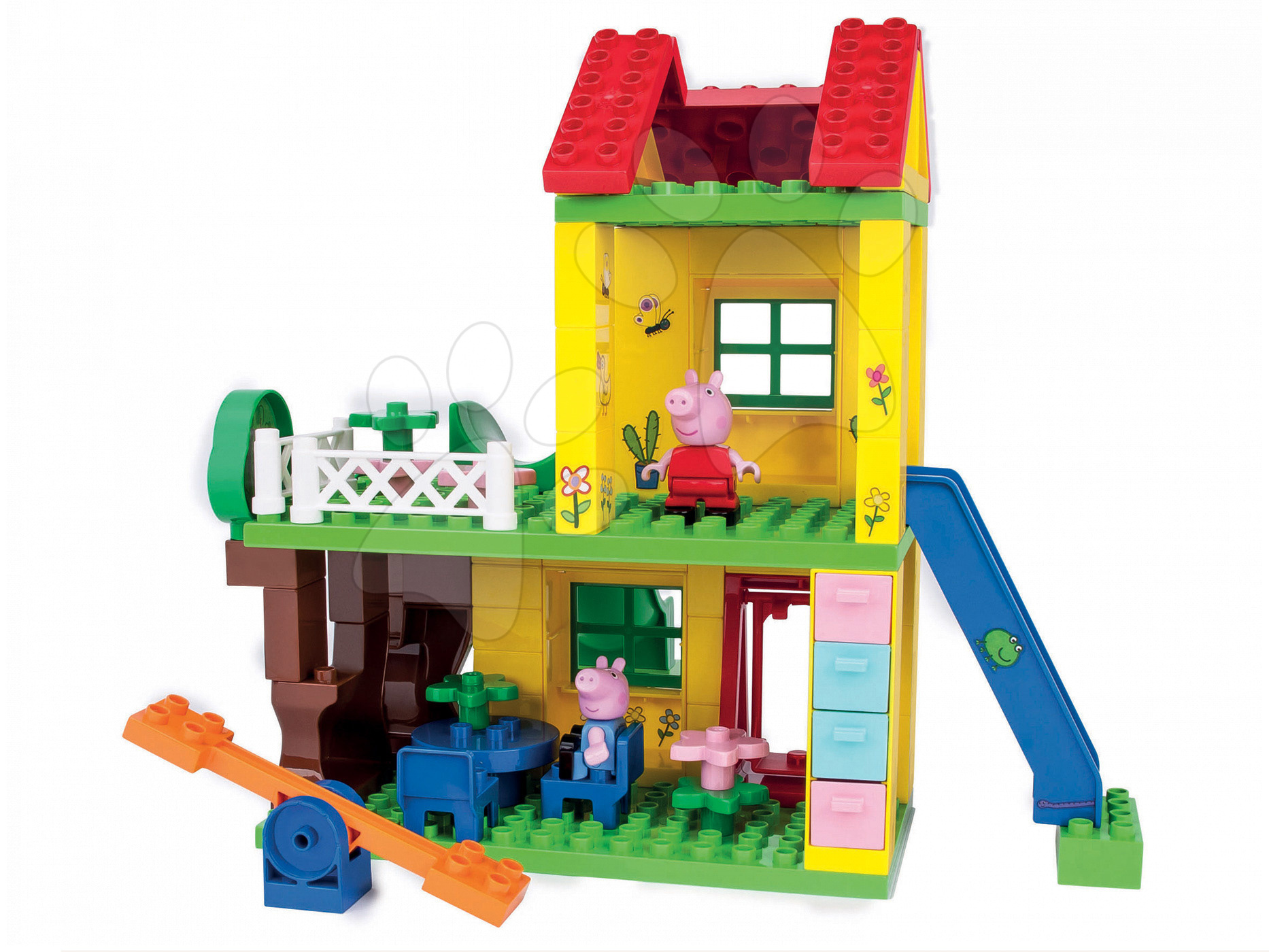 Stavebnice BIG-Bloxx ako lego - Stavebnica Peppa Pig na ihrisku PlayBIG Bloxx BIG s 2 figúrkami 75 dielov od 1,5-5 rokov