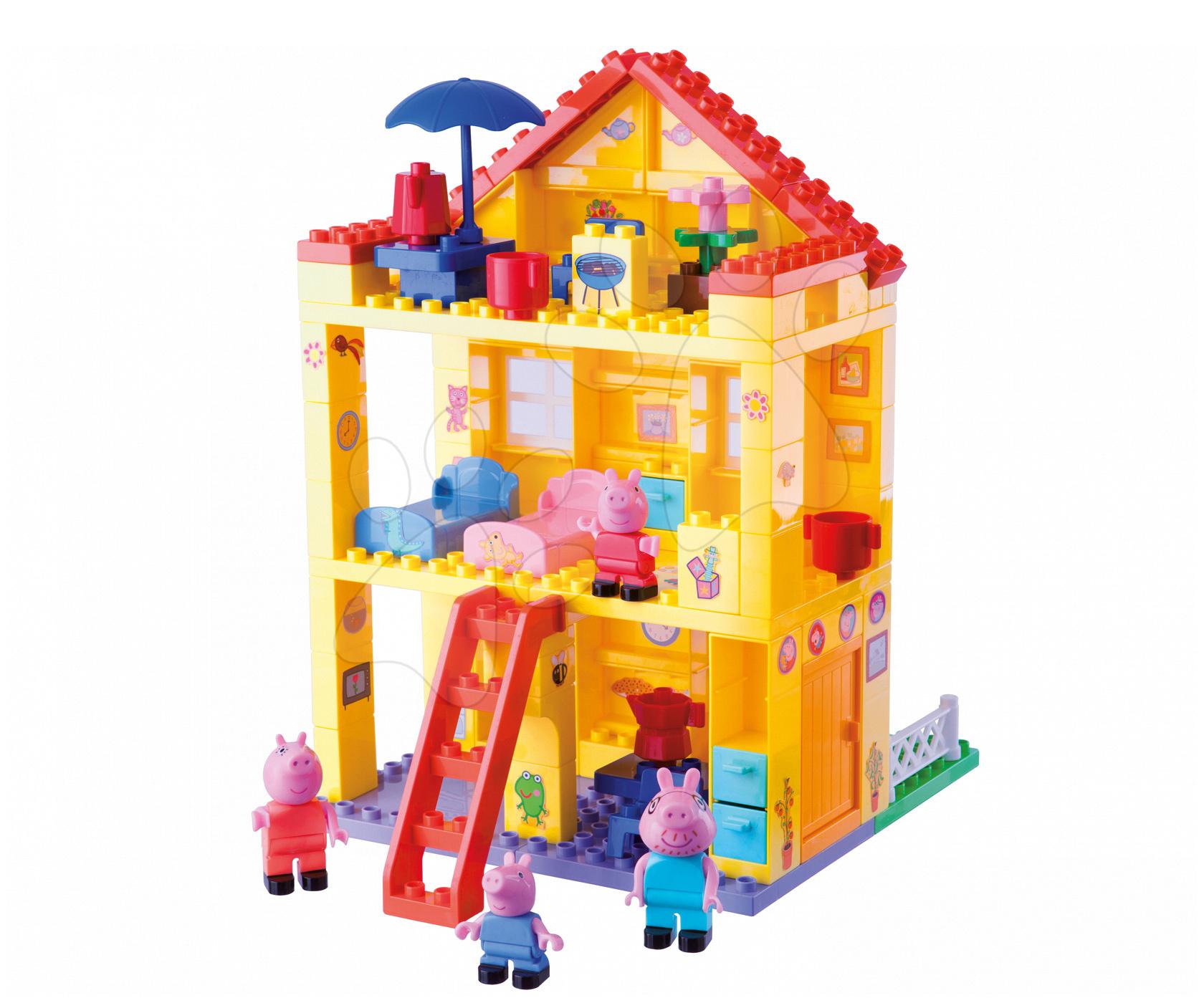 Stavebnice BIG-Bloxx jako lego - Stavebnice Peppa Pig rodinka v domku Bloxx BIG PlayBIG se 4 figurkami 107 dílů