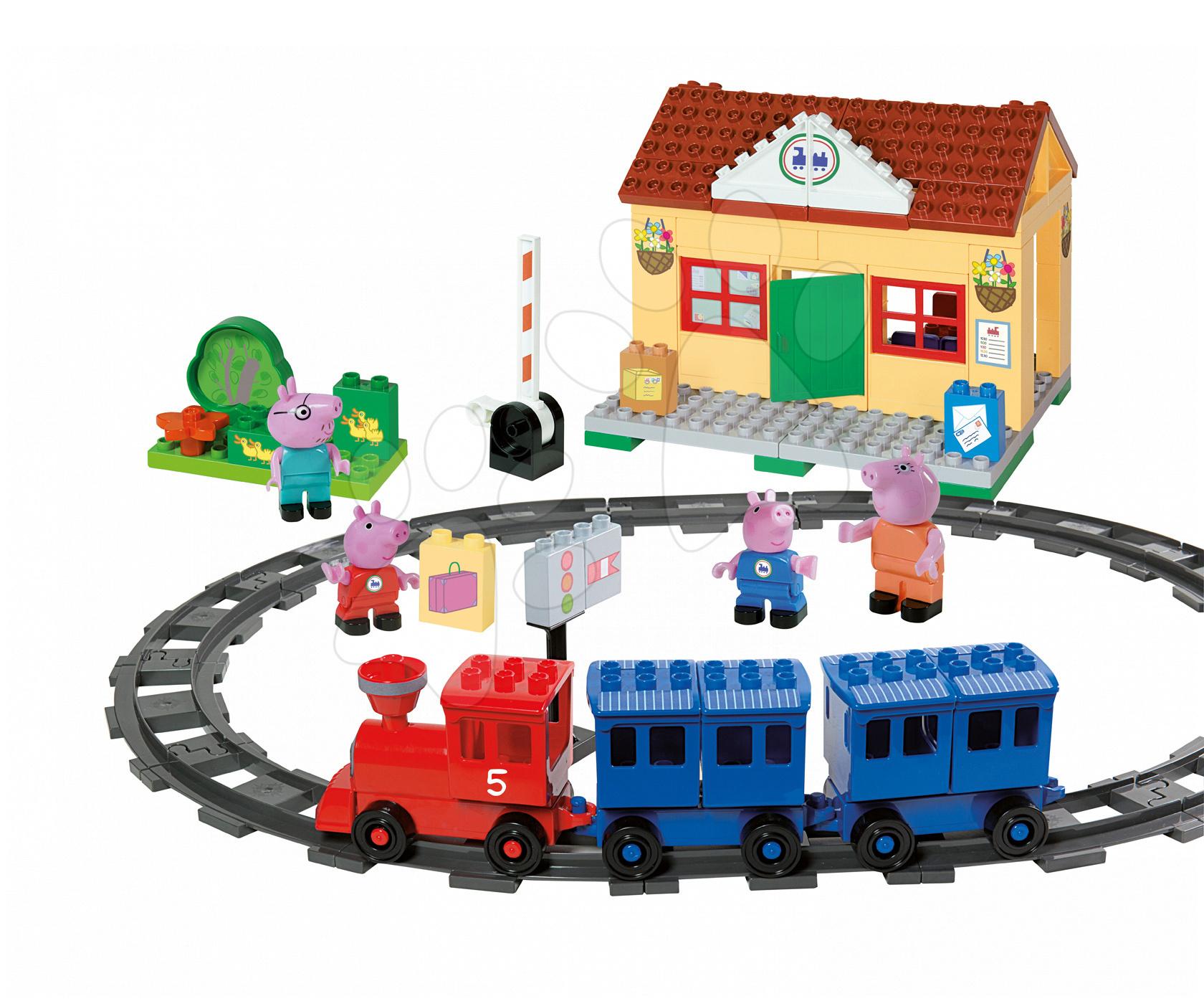 Stavebnice BIG-Bloxx ako lego - Stavebnica Peppa Pig na železničnej stanici PlayBIG Bloxx BIG so 4 figúrkami 95 dielov od 1,5-5 rokov