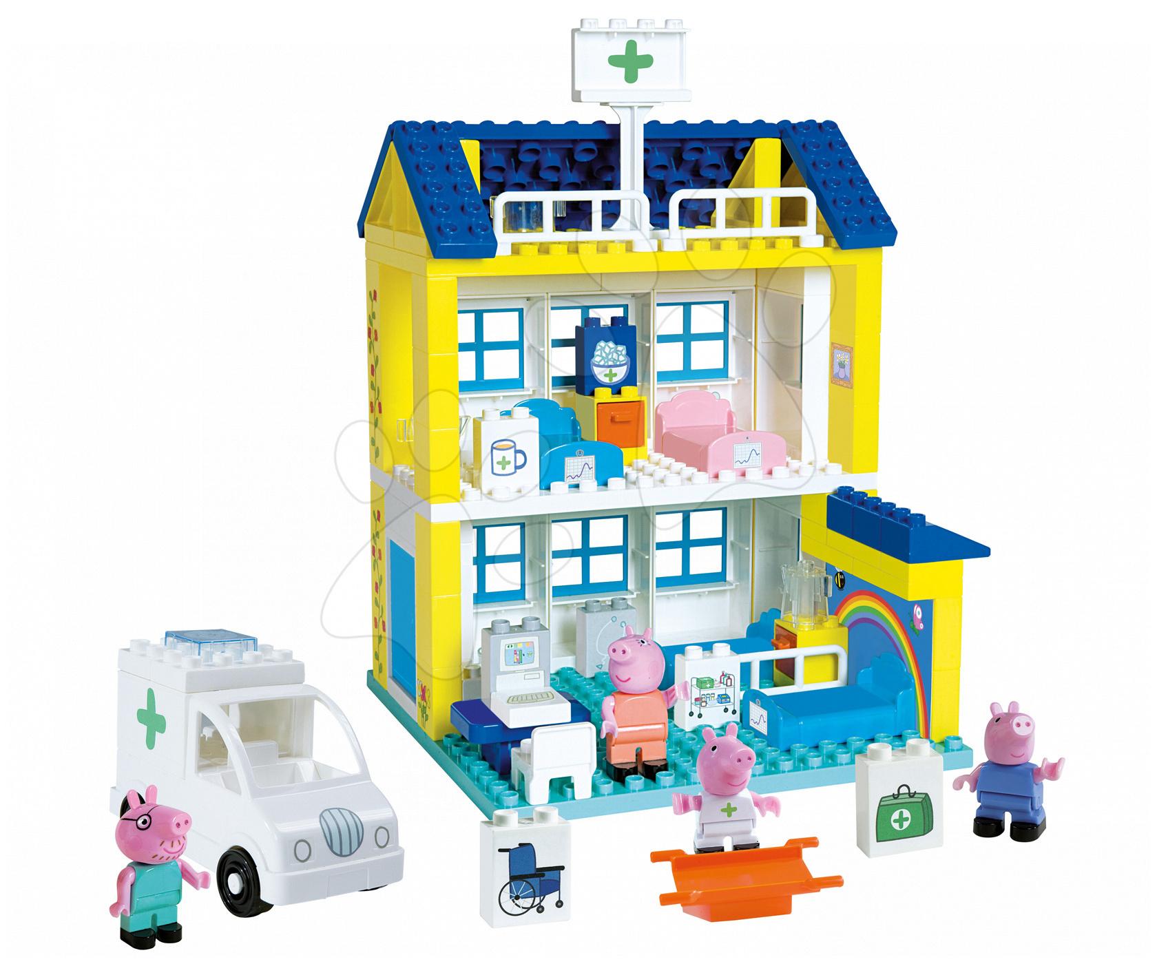 Stavebnice BIG-Bloxx ako lego - Stavebnica Peppa Pig v nemocnici PlayBIG Bloxx BIG so 4 figúrkami 112 dielov od 1,5-5 rokov