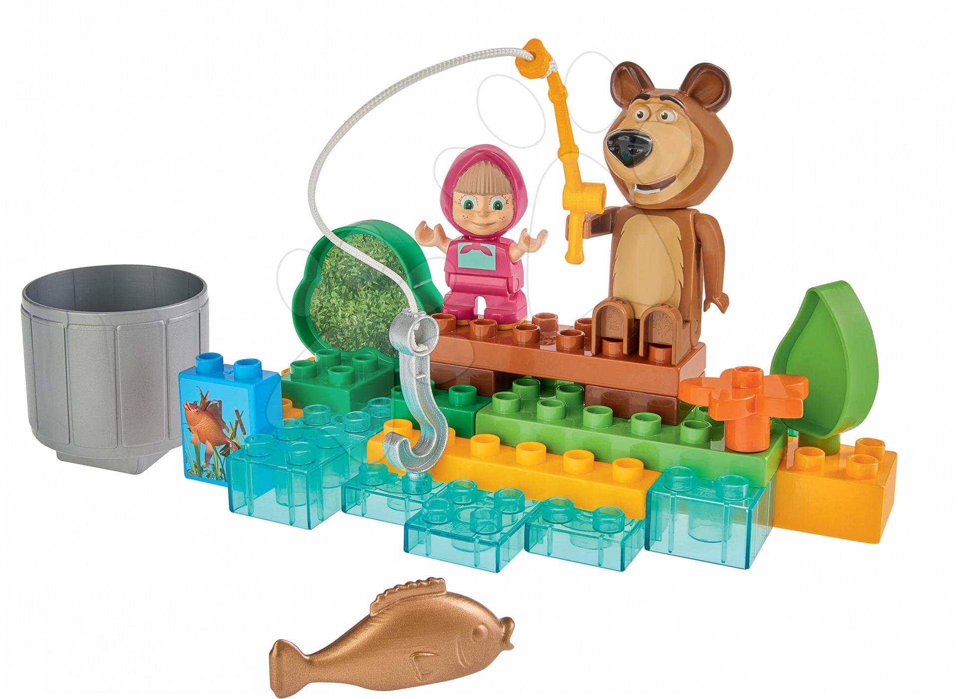 Stavebnice BIG-Bloxx ako lego - Stavebnica Máša a medveď idú na rybačku PlayBIG Bloxx BIG s 2 figúrkami 30 dielov od 1,5-5 rokov