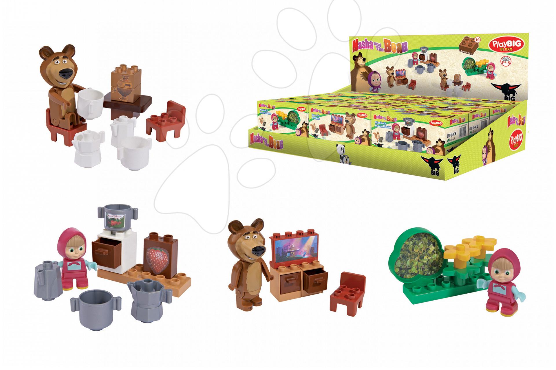 Stavebnice Máša a medvěd v kuchyni, ložnici, obýváku a lese PlayBIG Bloxx BIG 4 kusy 7-11 dílů od 1,5-5 let
