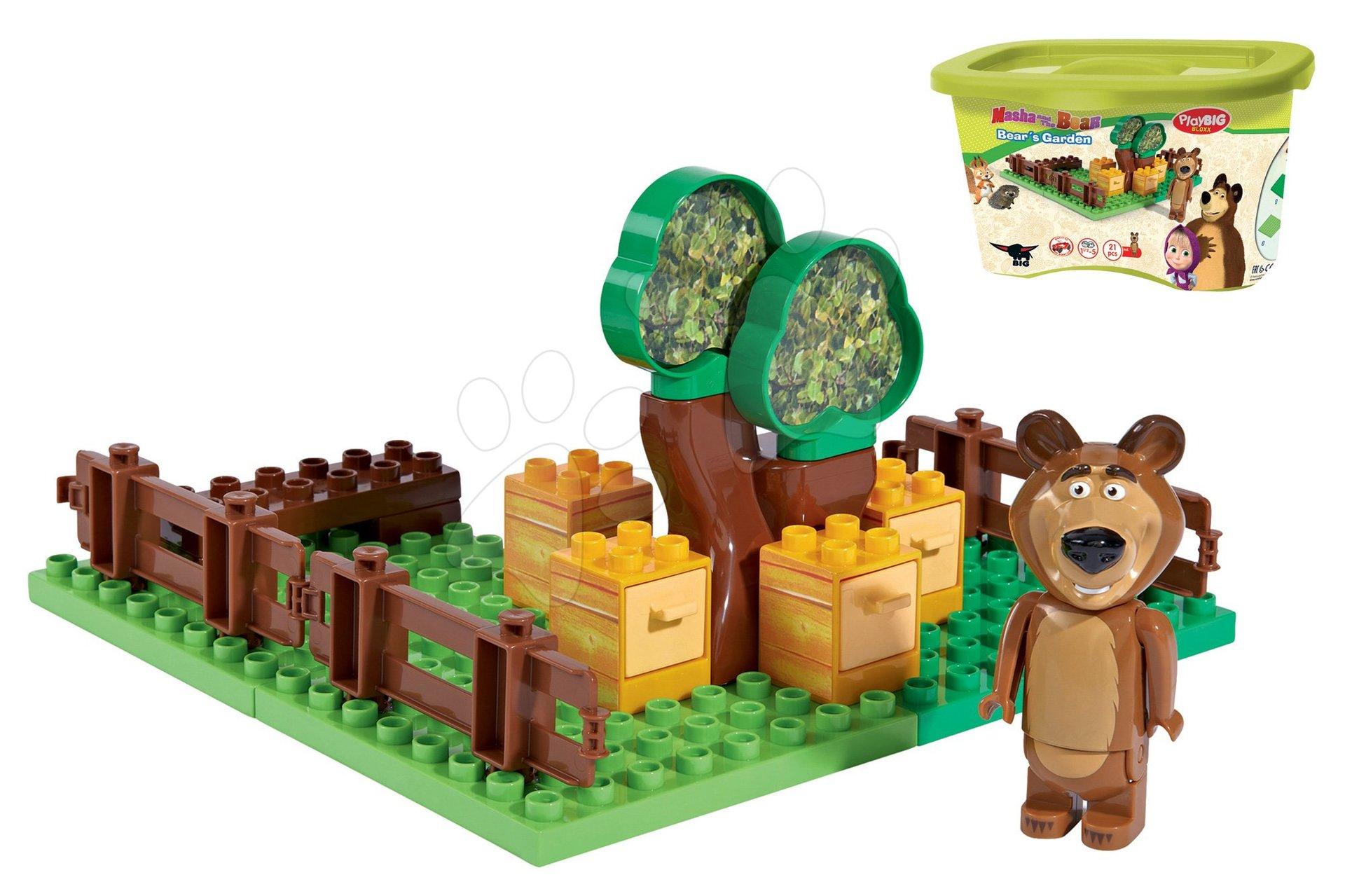 Stavebnice BIG-Bloxx ako lego - Stavebnica Máša a medveď v záhradke PlayBIG Bloxx BIG s 1 figúrkou 21 dielov od 1,5-5 rokov
