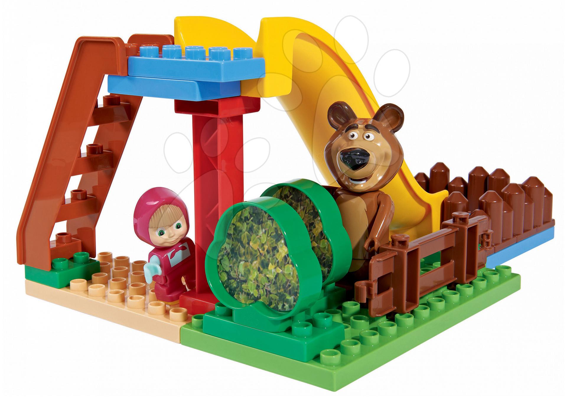 Stavebnice BIG-Bloxx ako lego - Stavebnica Máša a medveď na šmykľavke PlayBIG Bloxx BIG s 2 figúrkami 29 dielov od 1,5-5 rokov