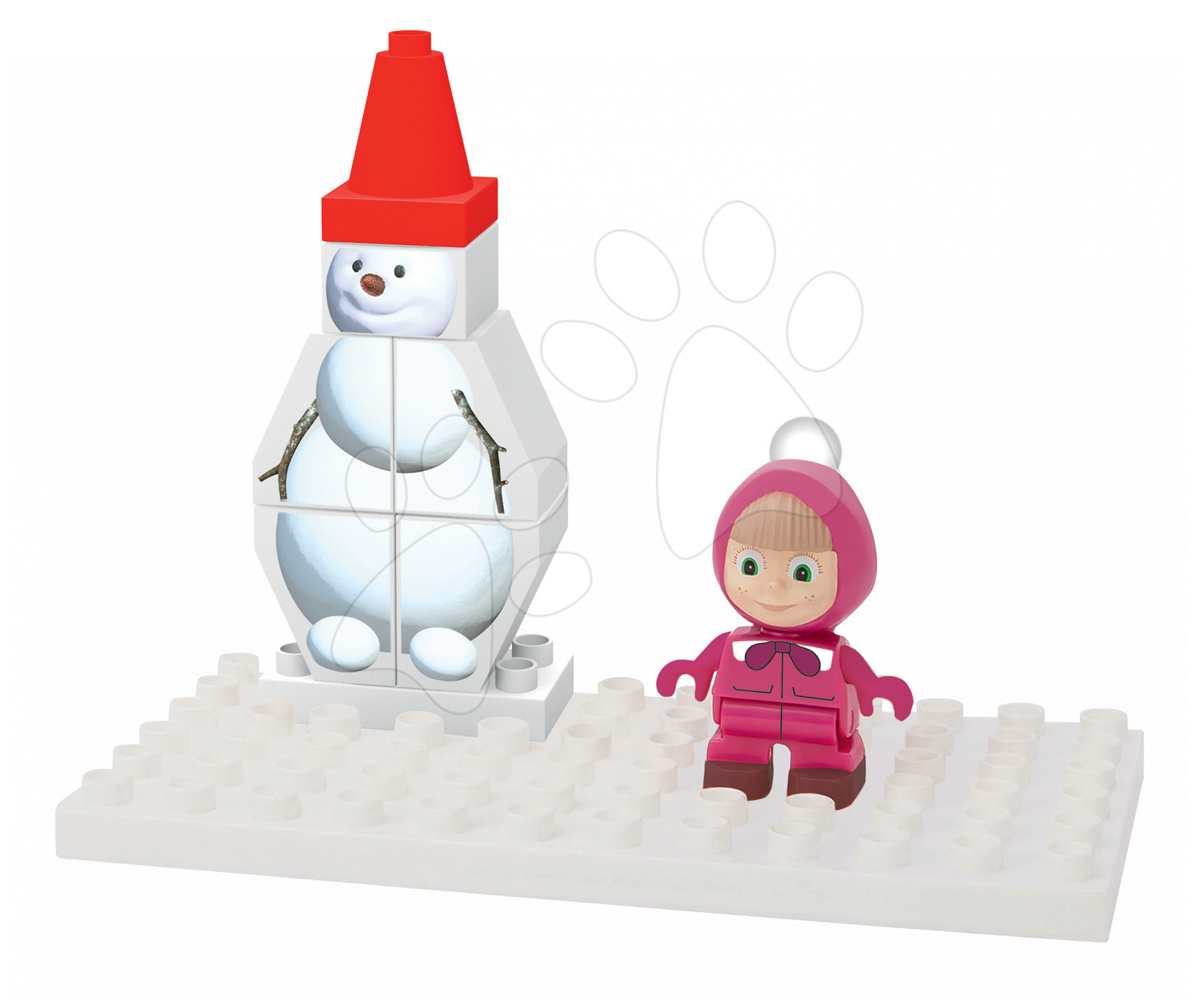 BIG stavebnica Máša a medveď So snehuliakom PlayBIG Bloxx 57097-B