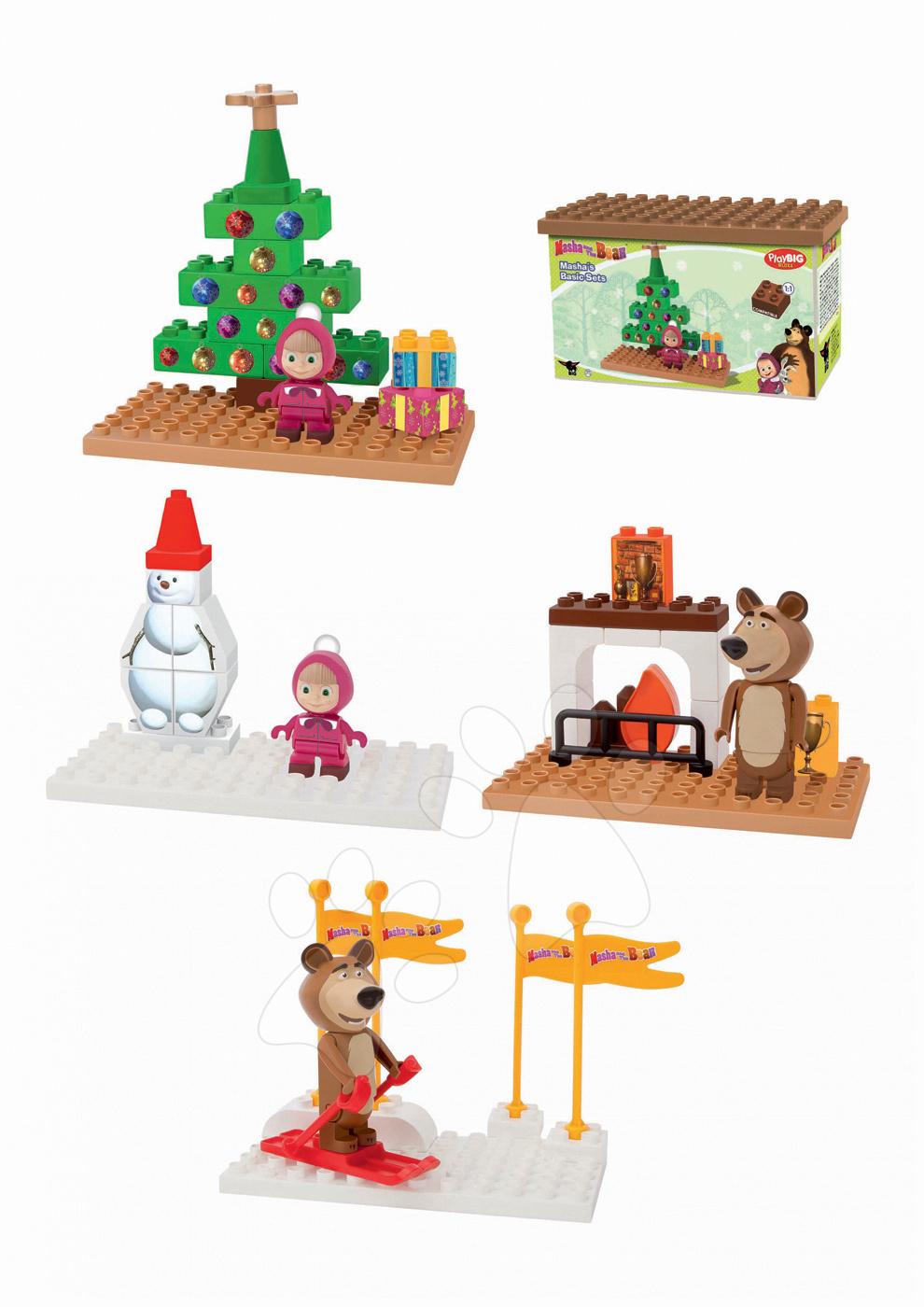 Építőjáték Mása és a medve PlayBIG Bloxx karácsonyfa alatt/hóemberrel/síelő/kandalló mellett 9-14 darabos 1,5-5 évesnek