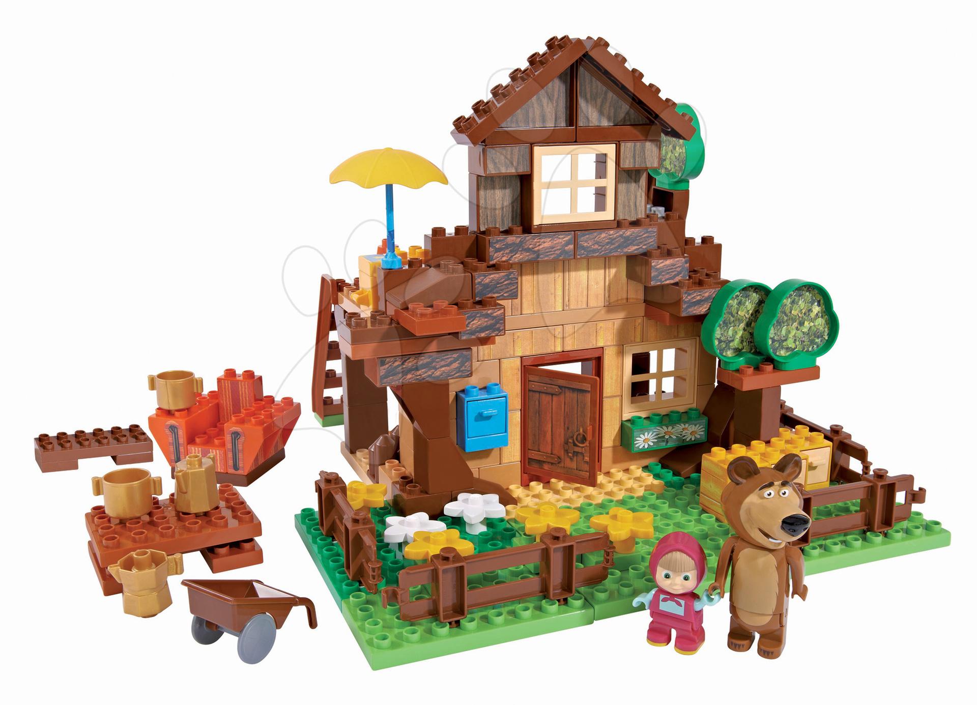 Stavebnice Máša a medvěd v horském domku PlayBIG Bloxx BIG s 2 figurkami 162 dílů od 1,5-5 let
