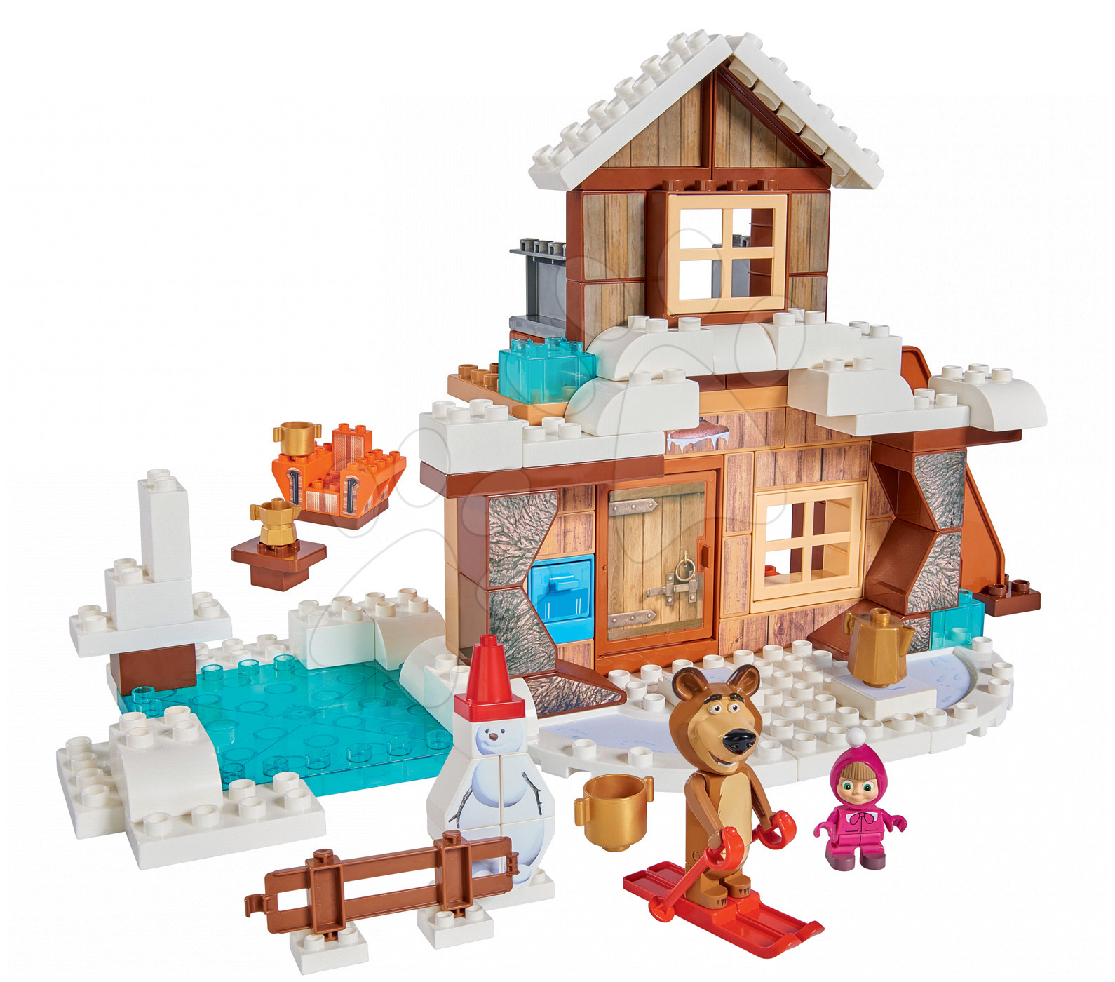 Stavebnica Máša a medveď na chalupe PlayBIG Bloxx BIG s 2 figúrkami 122 dielov od 1,5-5 rokov