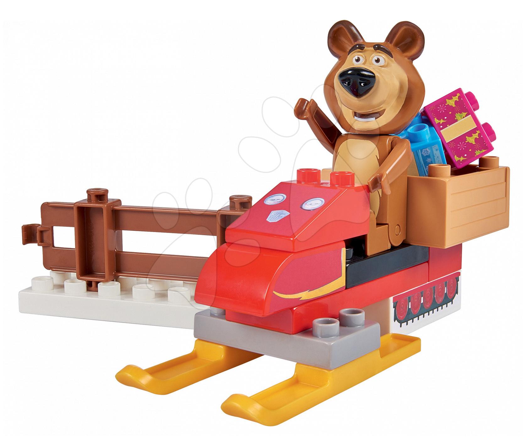 Stavebnice BIG-Bloxx ako lego - Stavebnica Máša a medveď na snežnom skútri PlayBIG Bloxx BIG s 1 figúrkou 15 dielov od 1,5-5 rokov
