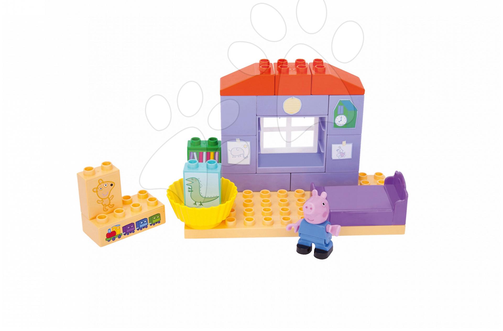 Stavebnica Peppa Pig v spálni PlayBIG Bloxx BIG 16 dielov a 1 figúrka od 1,5-5 rokov