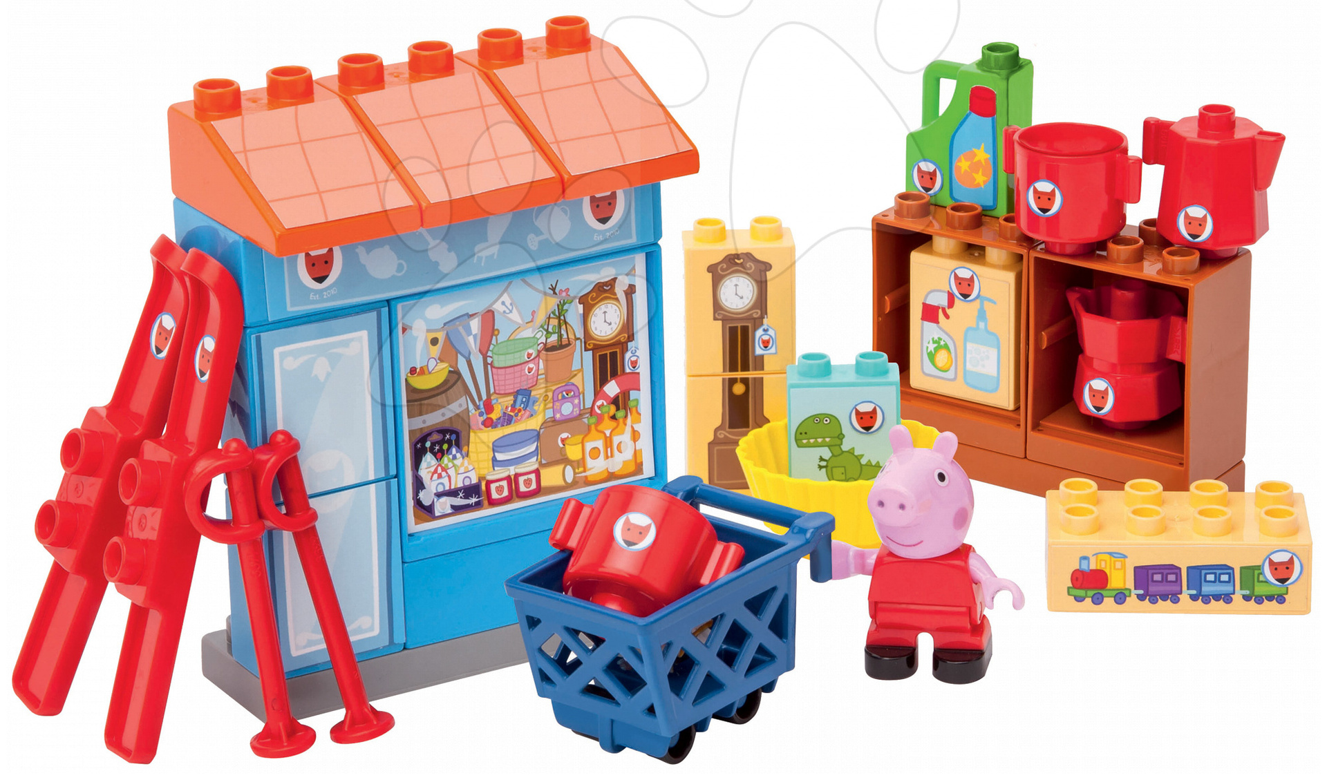 Stavebnica Peppa Pig v Mr. Fox obchode PlayBIG Bloxx BIG 29 dielov a 1 figúrka od 1,5-5 rokov