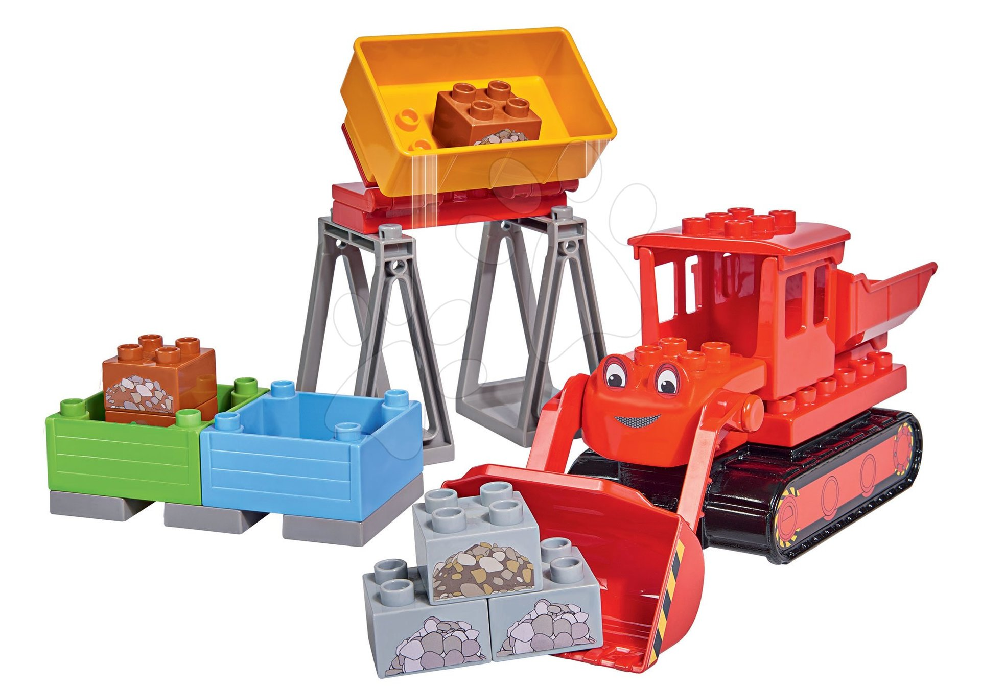 Stavebnica Staviteľ Bob PlayBIG Bloxx BIG buldozér so stavebným materiálom 29 dielov od 24 mes