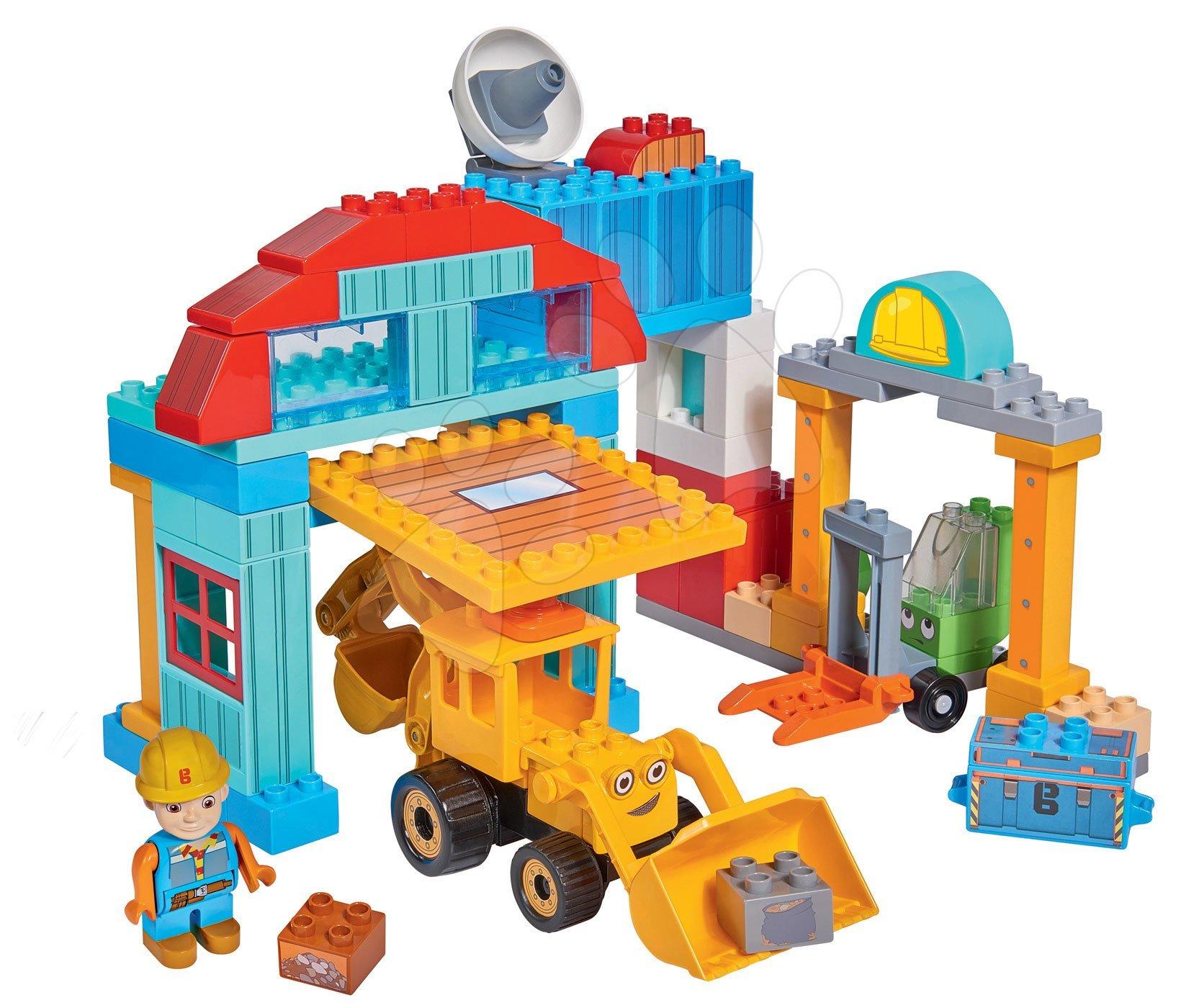 Stavebnica Staviteľ Bob PlayBIG Bloxx BIG Bob na stavenisku, 1 figúrka a 96 dielov od 24 mes