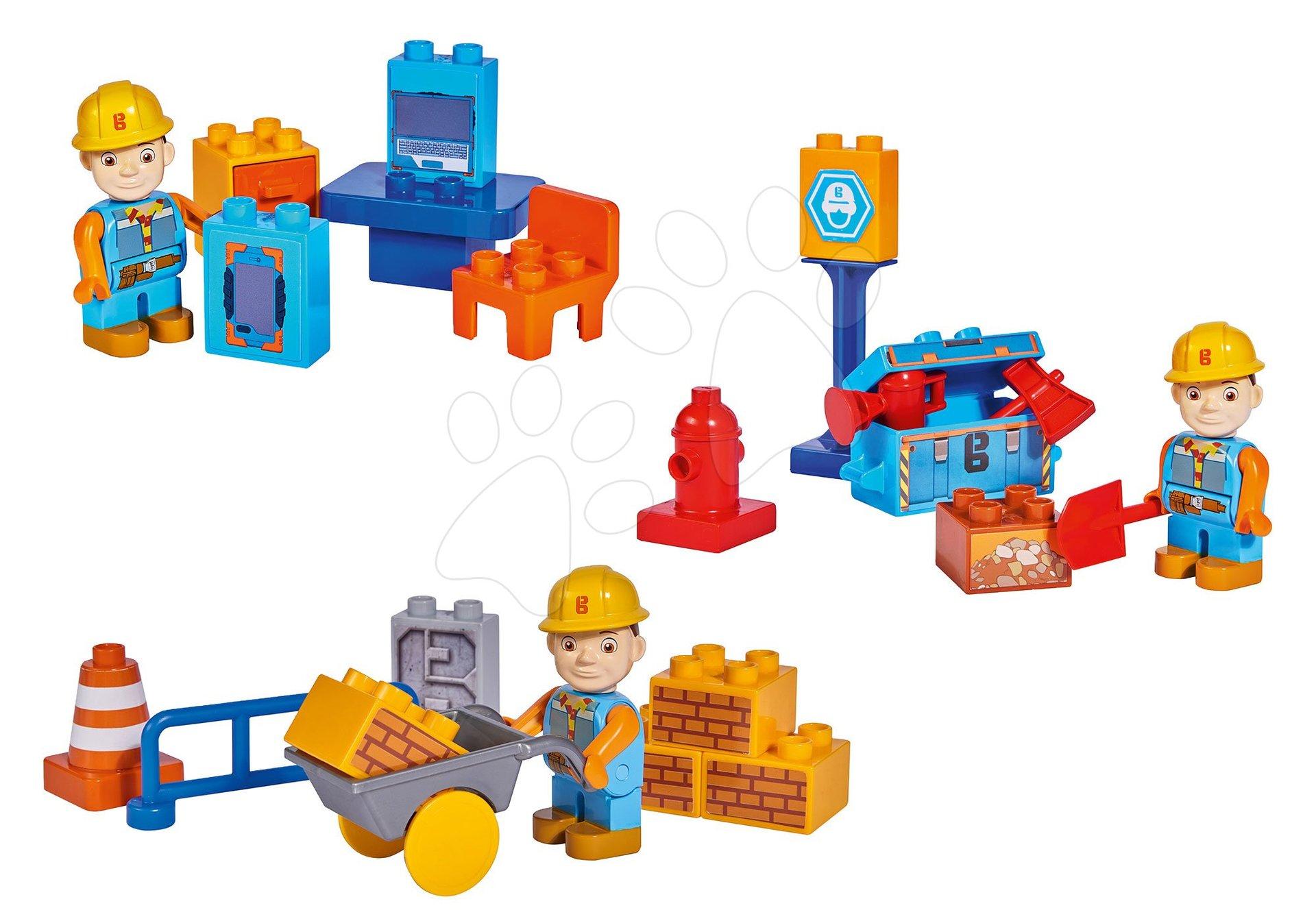 Set 3 stavebníc Staviteľ Bob na stavenisku PlayBIG Bloxx BIG a 3 figúrky od 24 mes